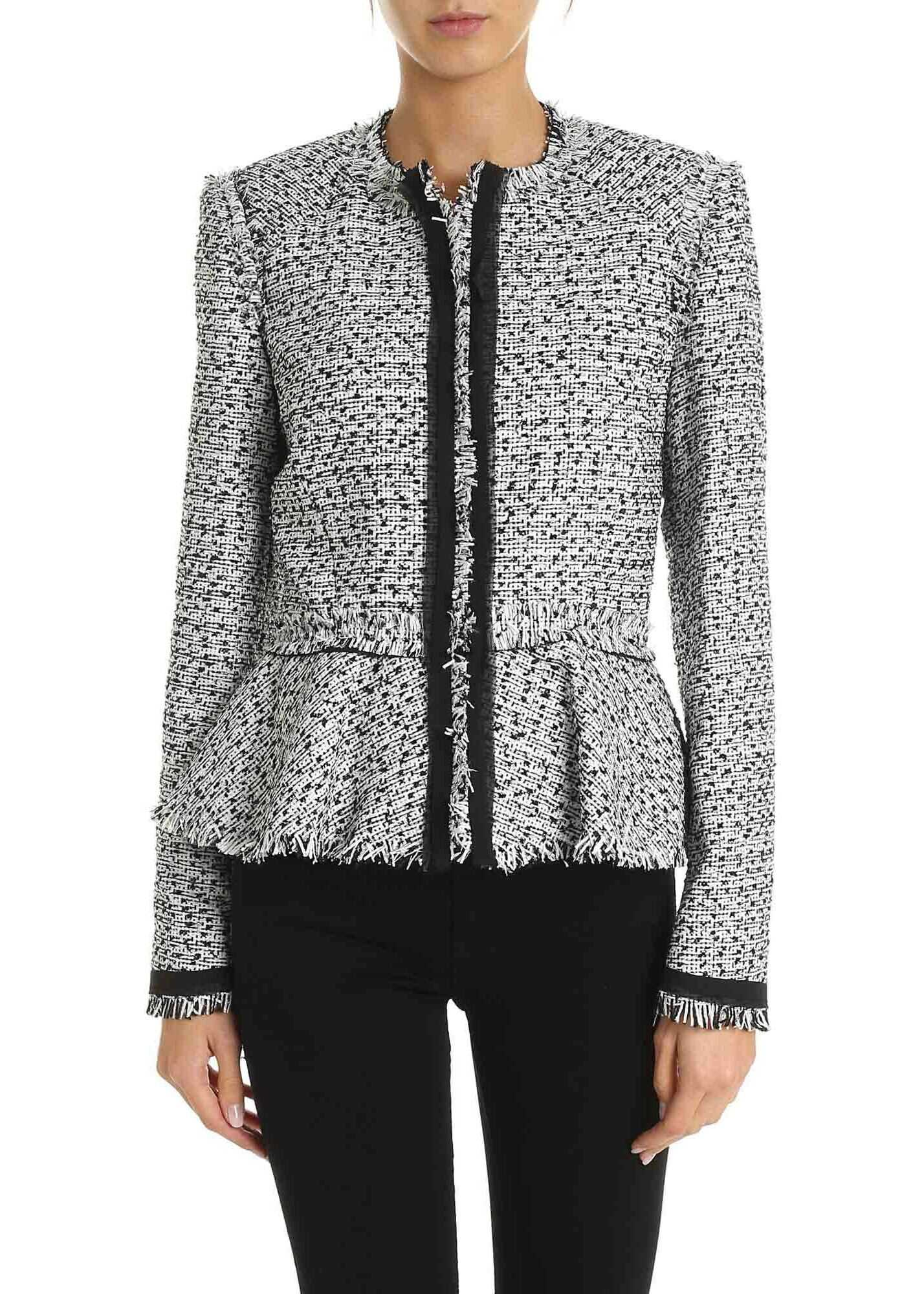 Bouclé Motif Jacket In White And Black thumbnail