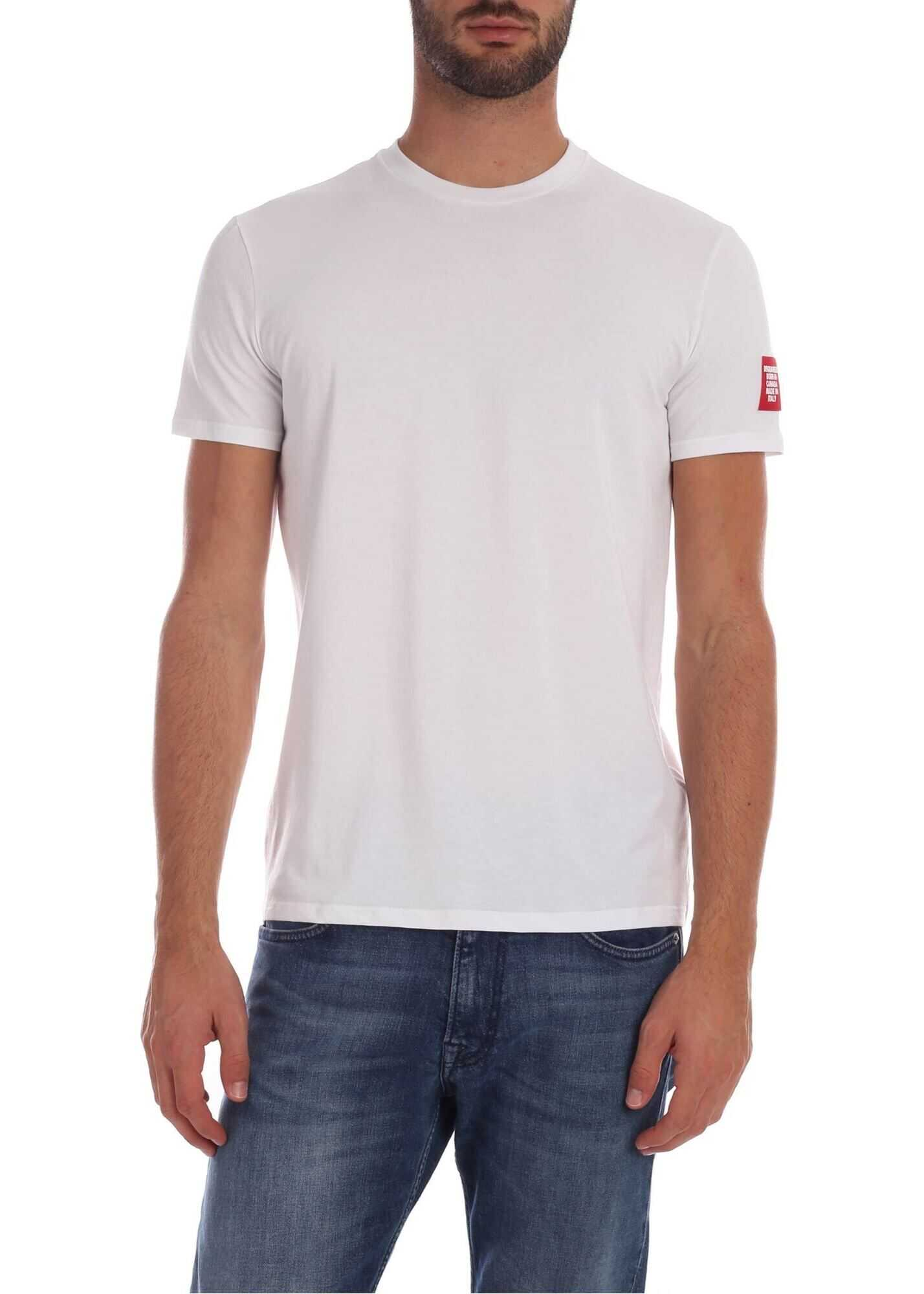 White T-Shirt With Logo Patch