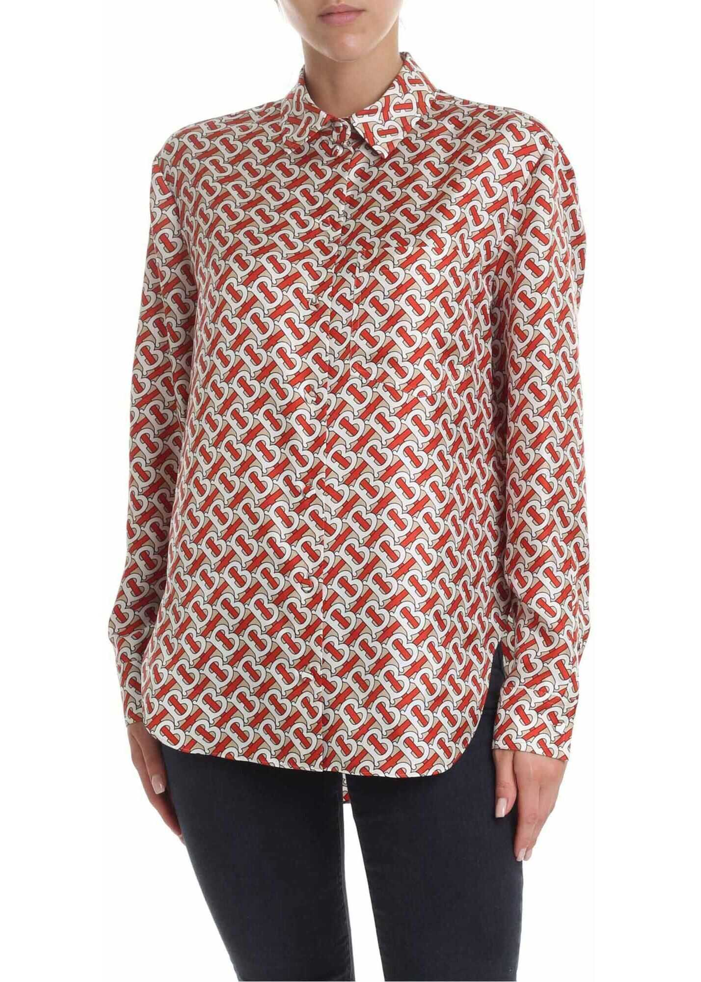 Godwit Monogram Print Shirt In Red Vermilion thumbnail
