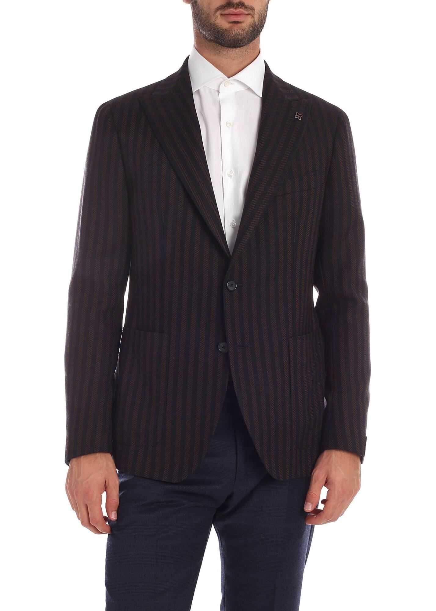 Blue And Brown Striped Jacket thumbnail