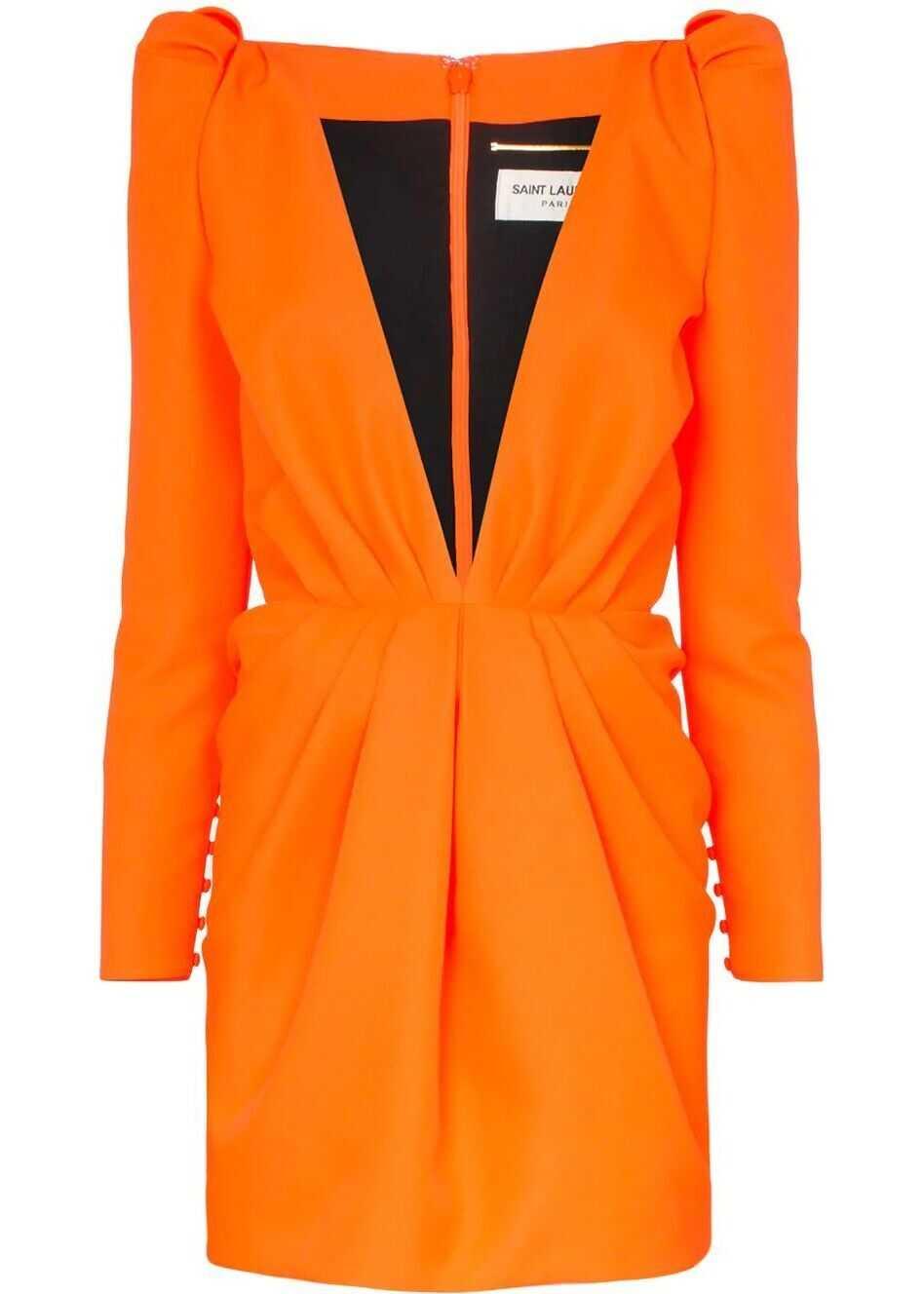 Saint Laurent Polyester Dress ORANGE