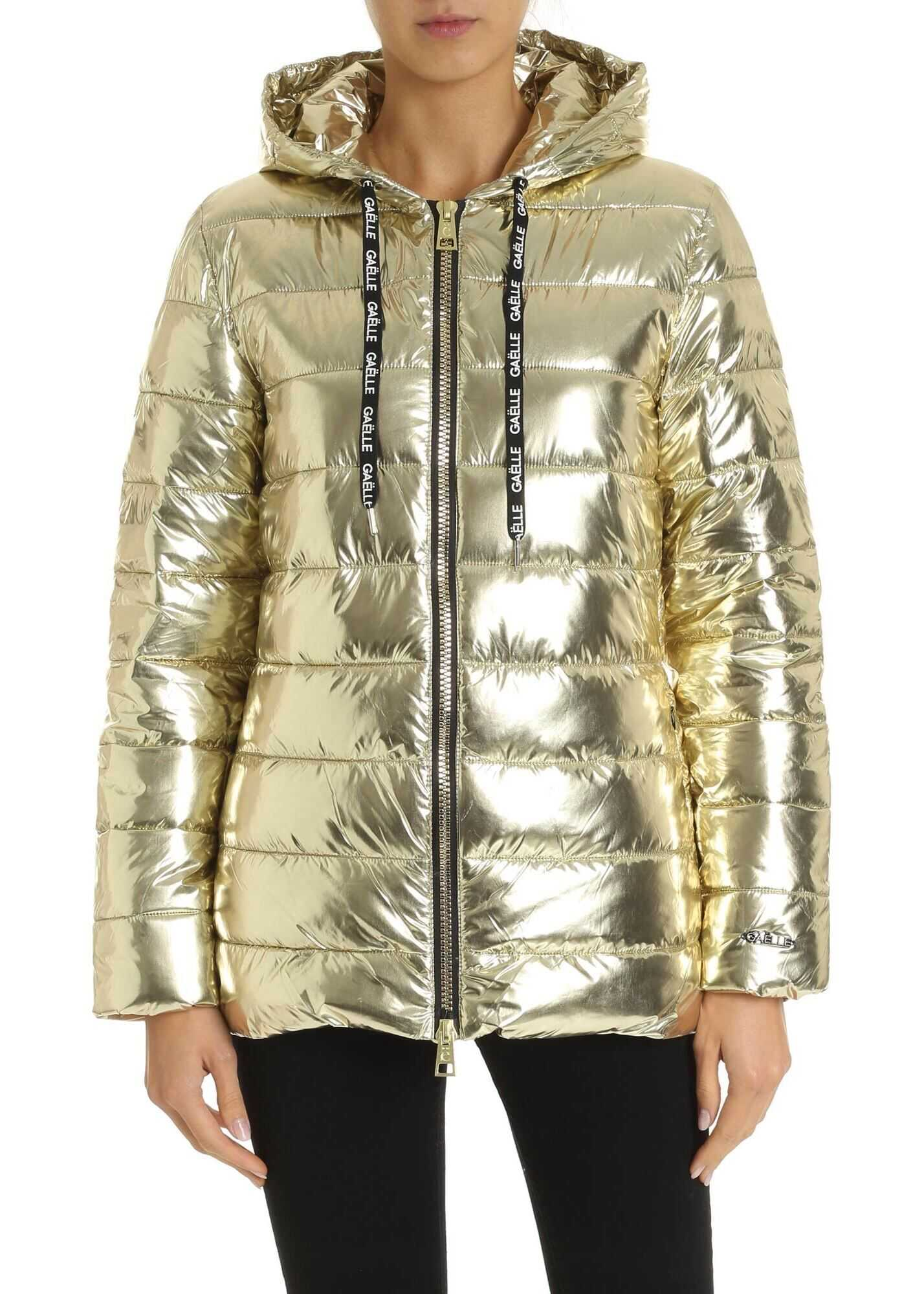 GAëLLE Paris Down Jacket In Laminated Gold Gold