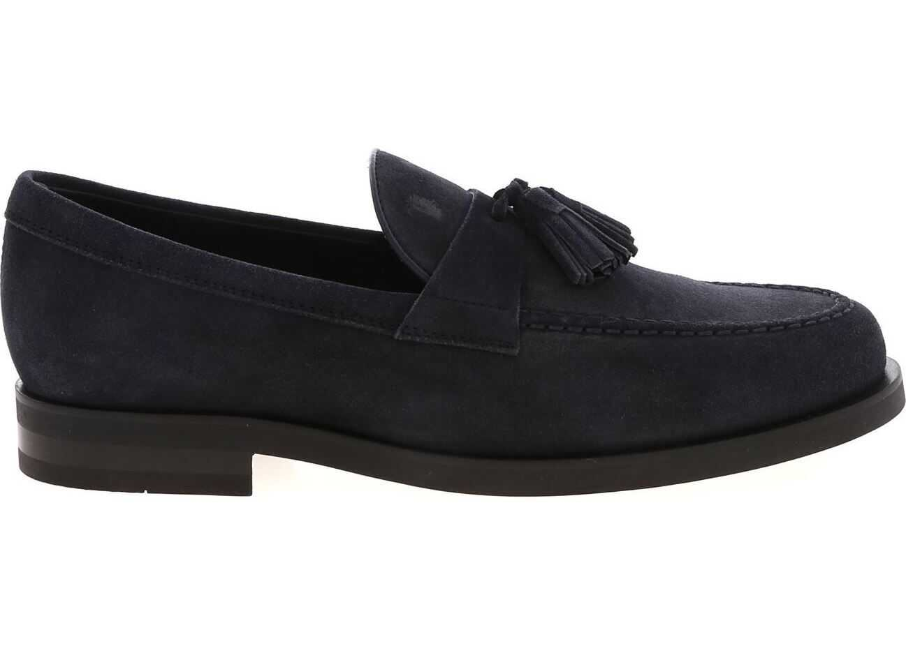 Loaferss In Blue Suede With Tassels thumbnail