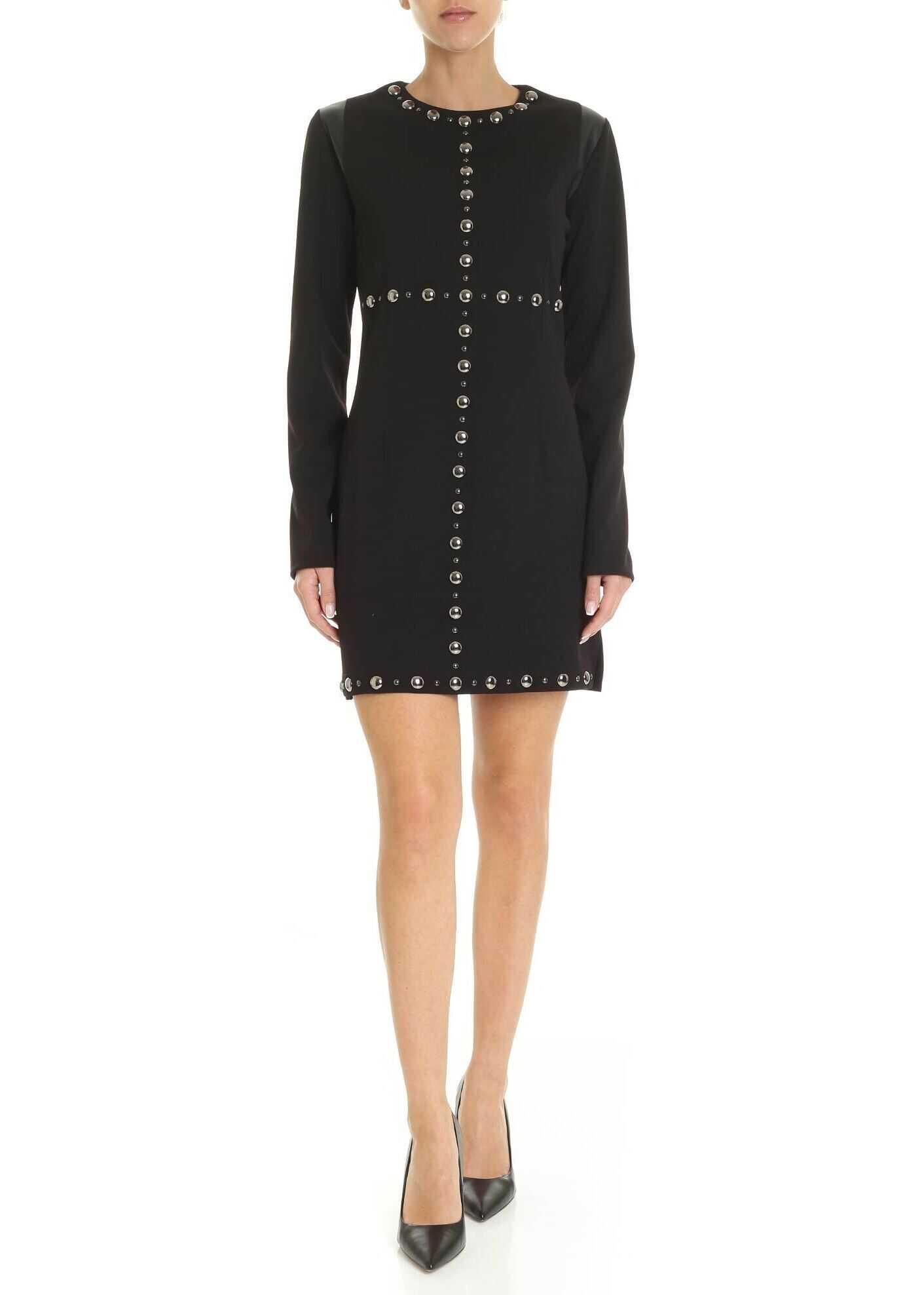 GAëLLE Paris Crepe Short Dress With Studs Black