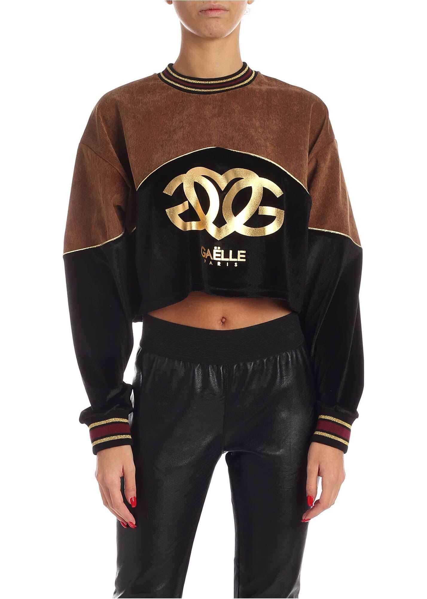 GAëLLE Paris Black And Brown Cropped Sweatshirt With Golden Logo Black