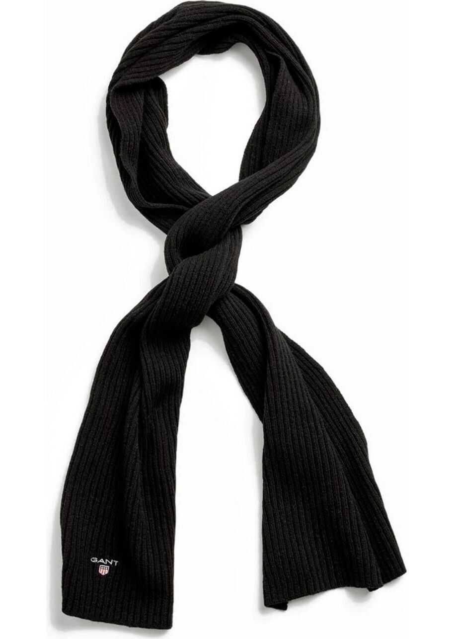 GANT Wool Scarf BLACK
