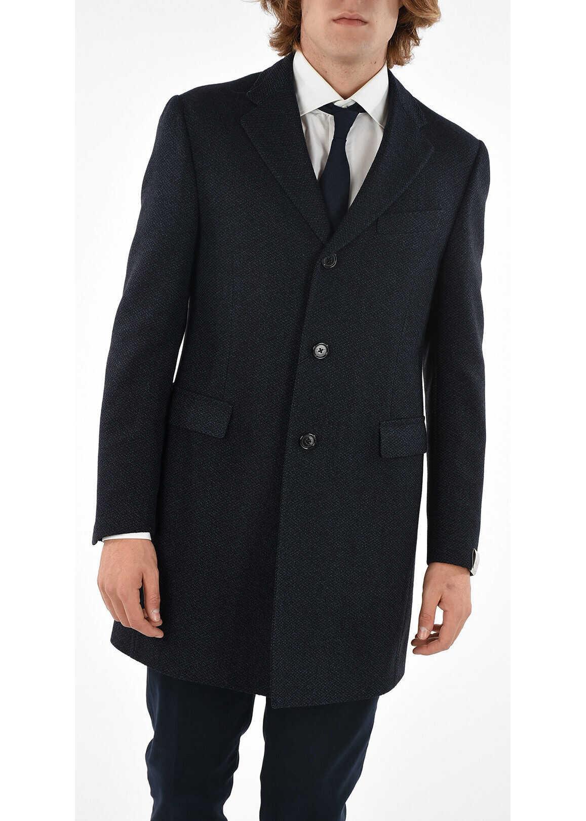CORNELIANI 3 Button twill chesterfield coat BLUE