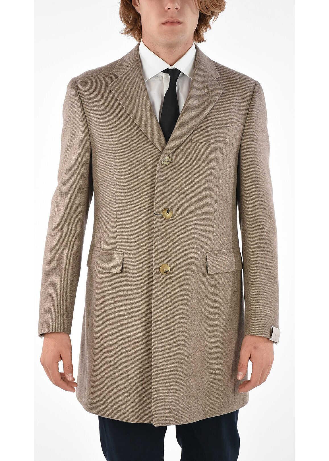 CORNELIANI 3 Button tweed chesterfield coat BEIGE