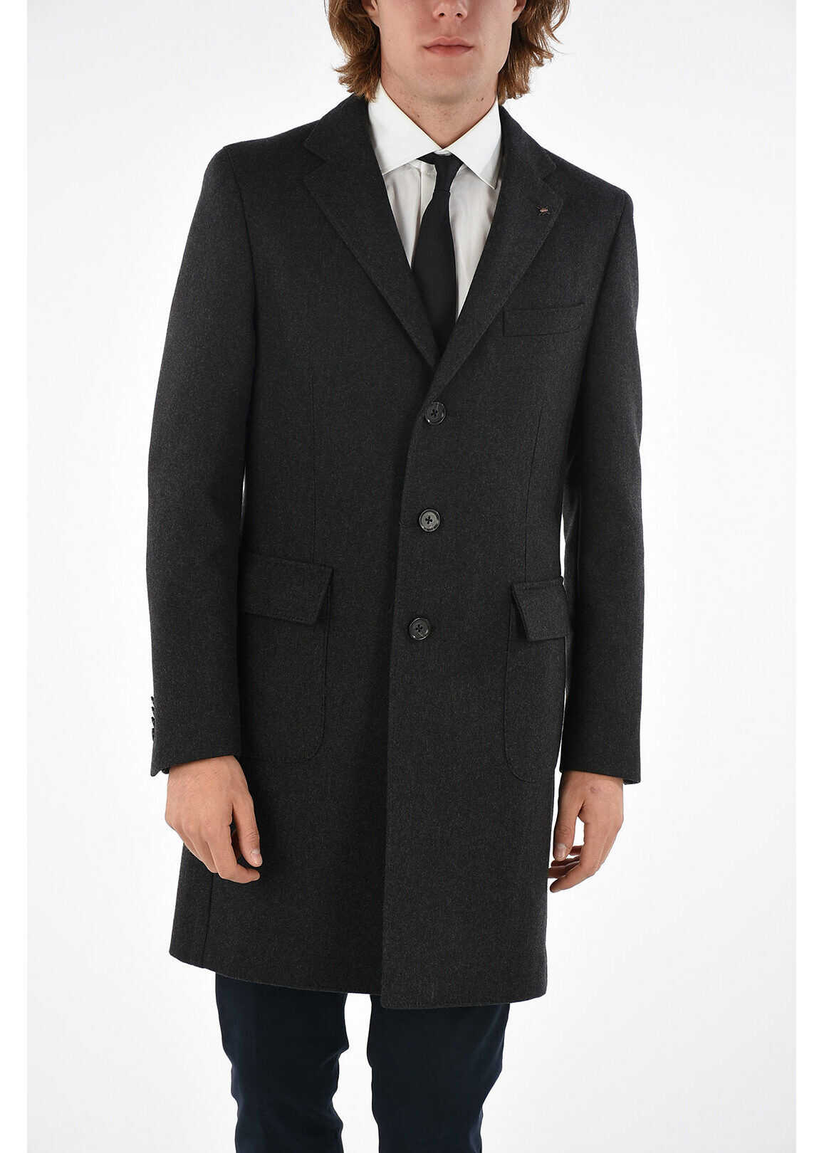CORNELIANI CC COLLECTION twill chesterfield coat with 3 BUTTON GRAY