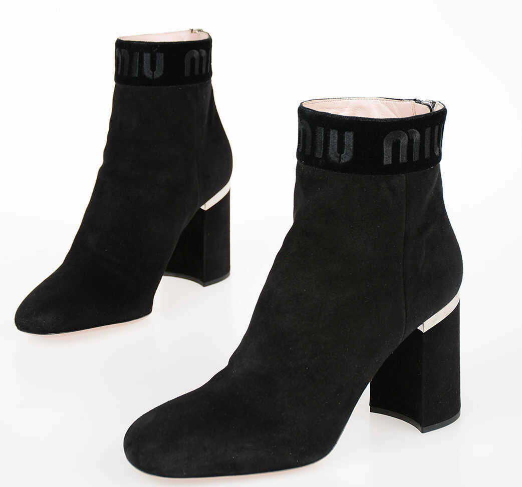 Miu Miu 9cm Suede Leather ankle Boots BLACK