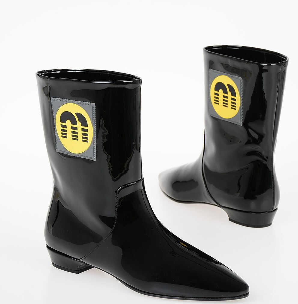 Miu Miu Patent Leather Flat Boots BLACK imagine b-mall.ro
