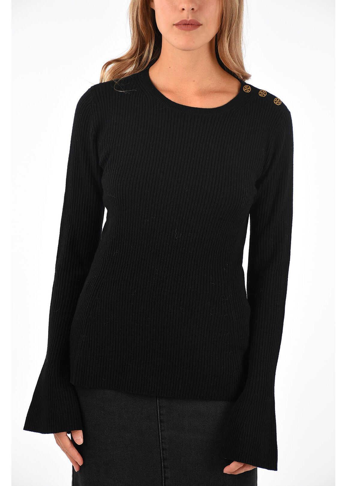 Tory Burch ribbed merino wool Sweater BLACK