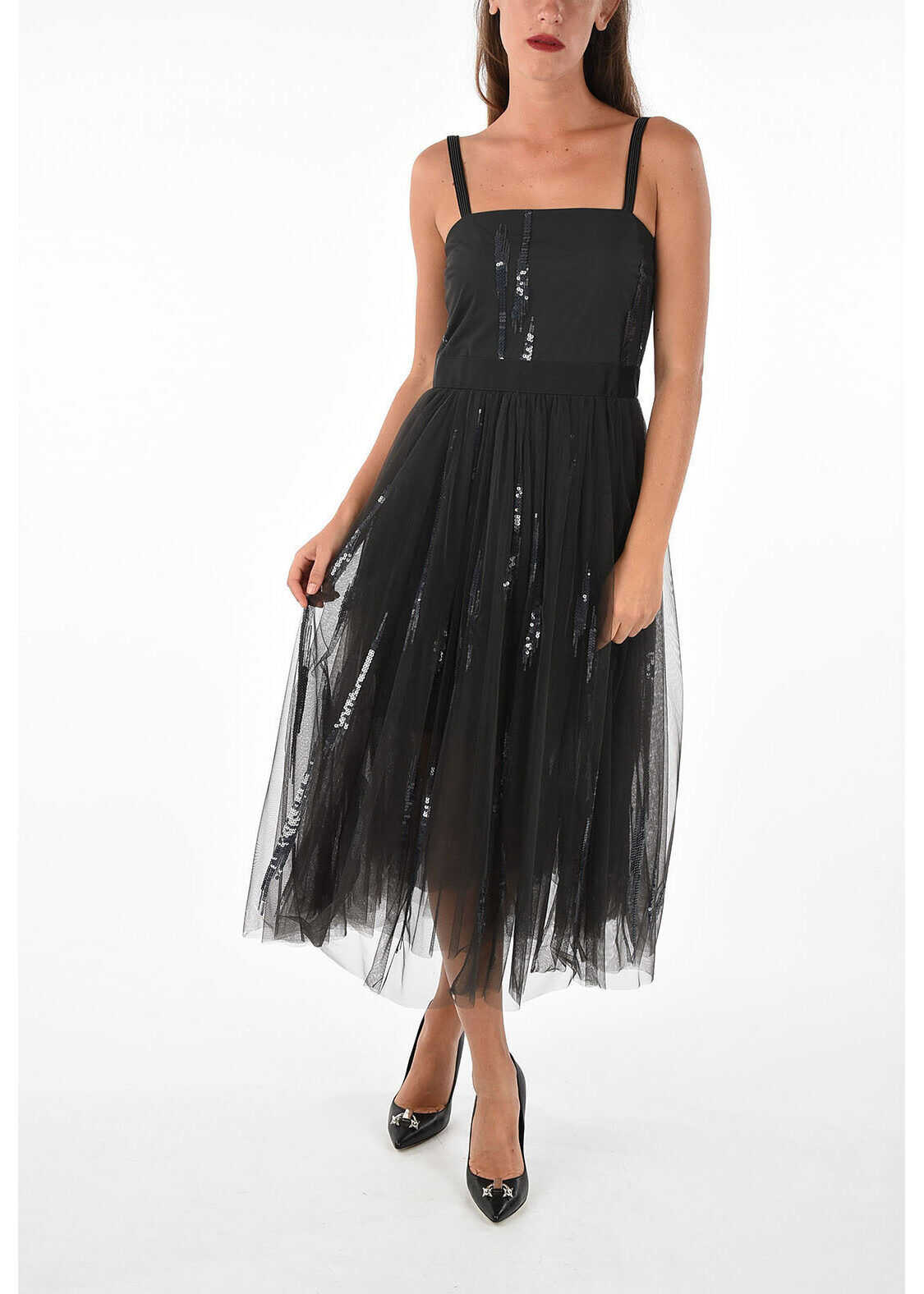 Brunello Cucinelli Tulle Dress with Sequins BLACK
