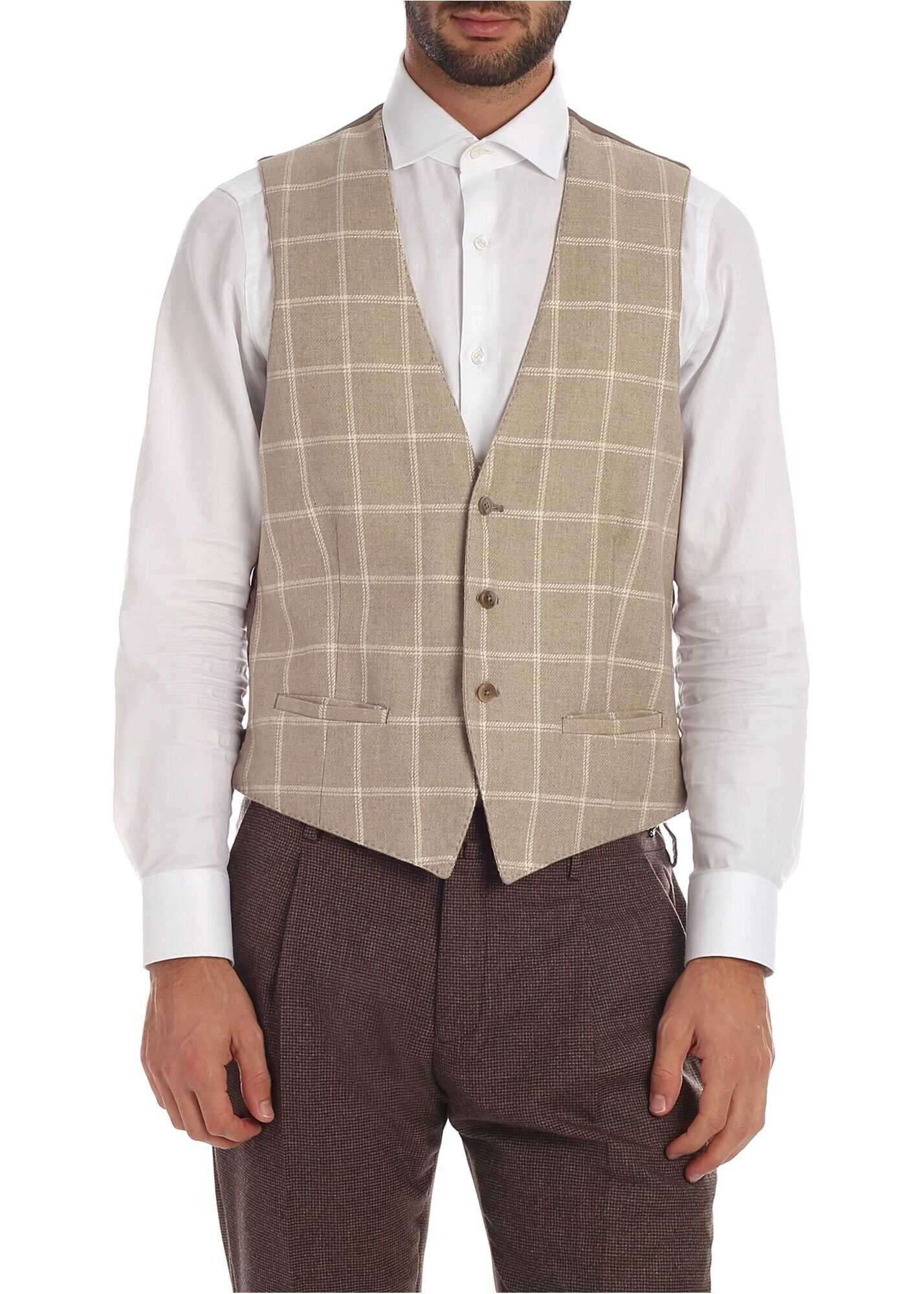 L.B.M. 1911 Checked Waistcoat In Beige And Grey Beige