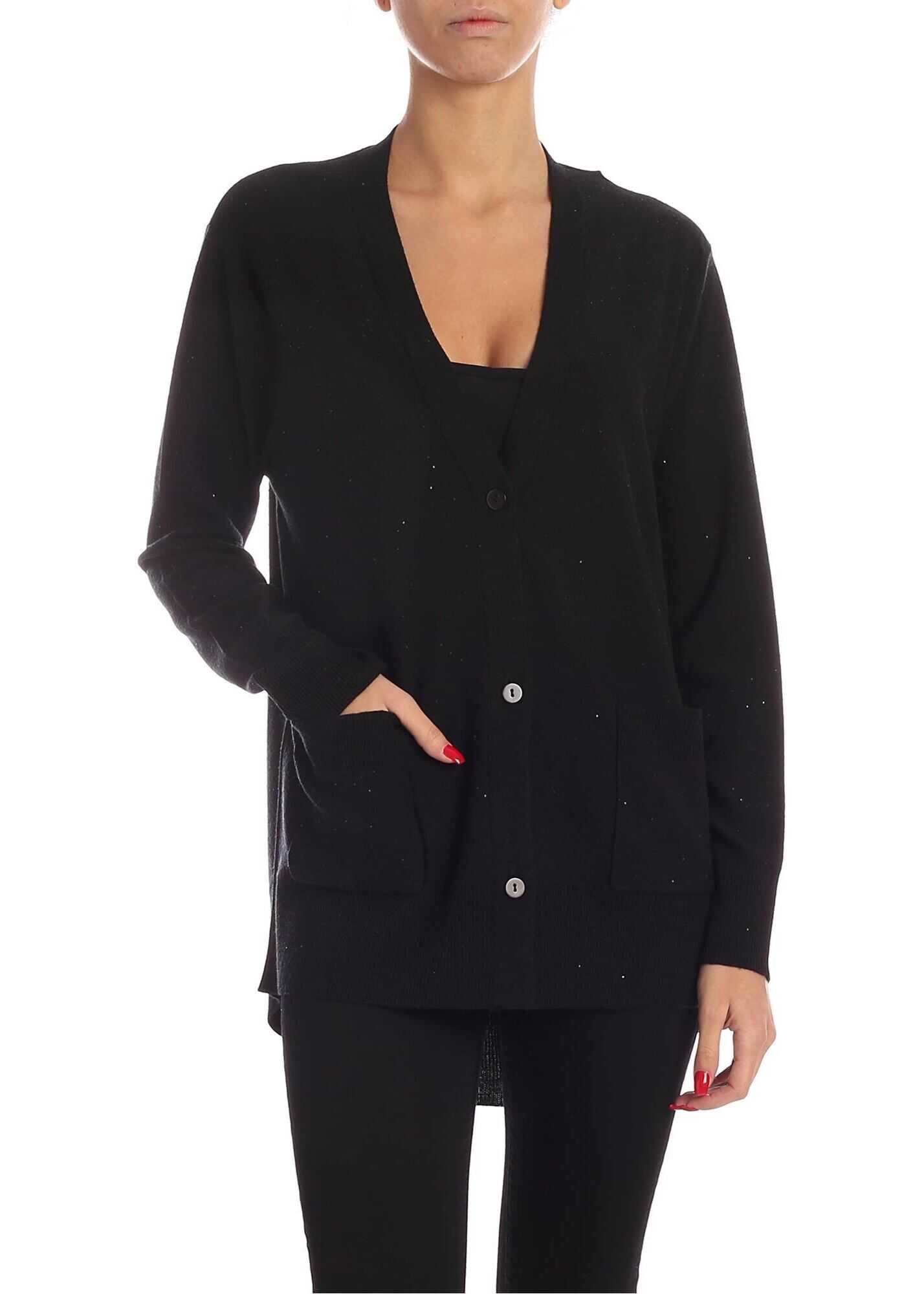 Black Micro Sequins Cardigan In Black thumbnail