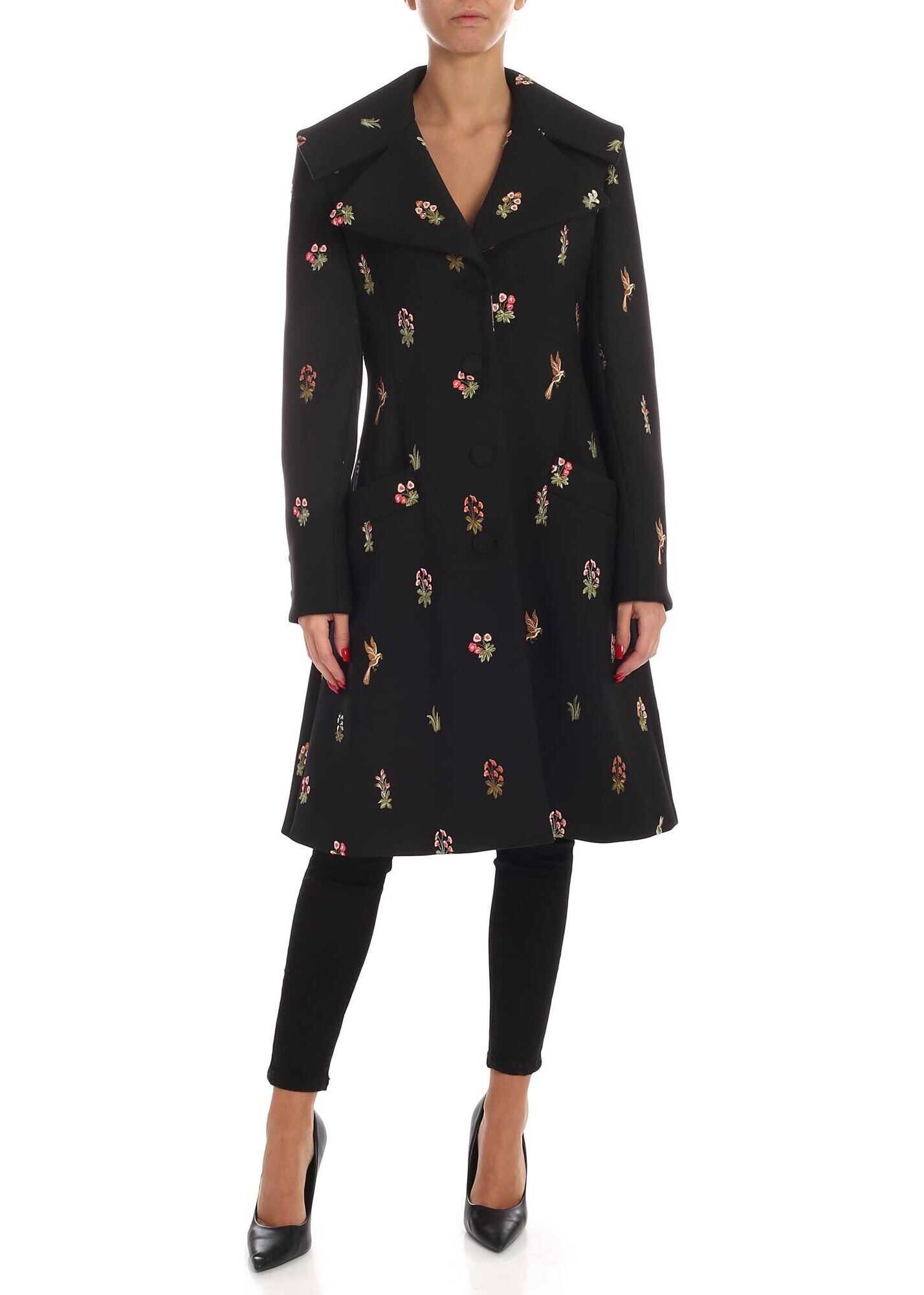 Vivetta Hunting Embroidery Coat In Black Black