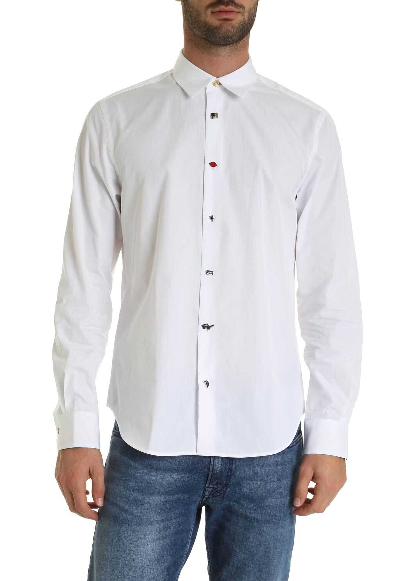Decorated Buttons Shirt In White thumbnail