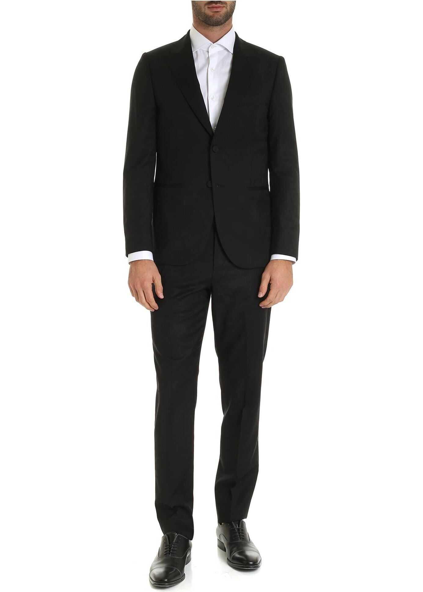 Tone-On-Tone Prints Suit In Black thumbnail