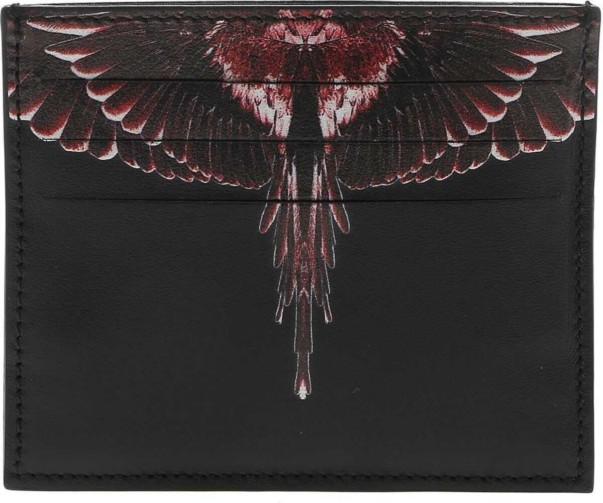 Marcelo Burlon Red Ghost Wings Card Holder In Black Black