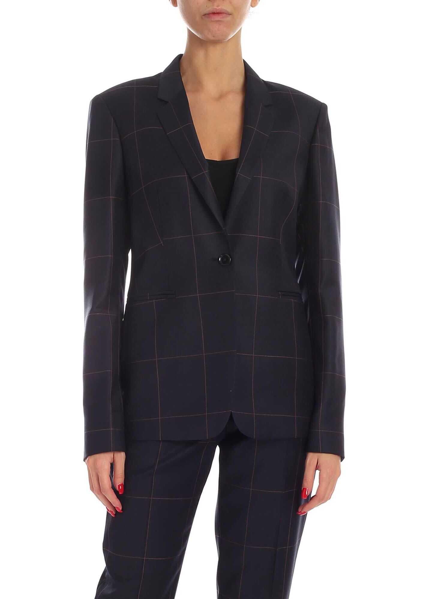 Check Pattern Single Button Jacket In Blue thumbnail