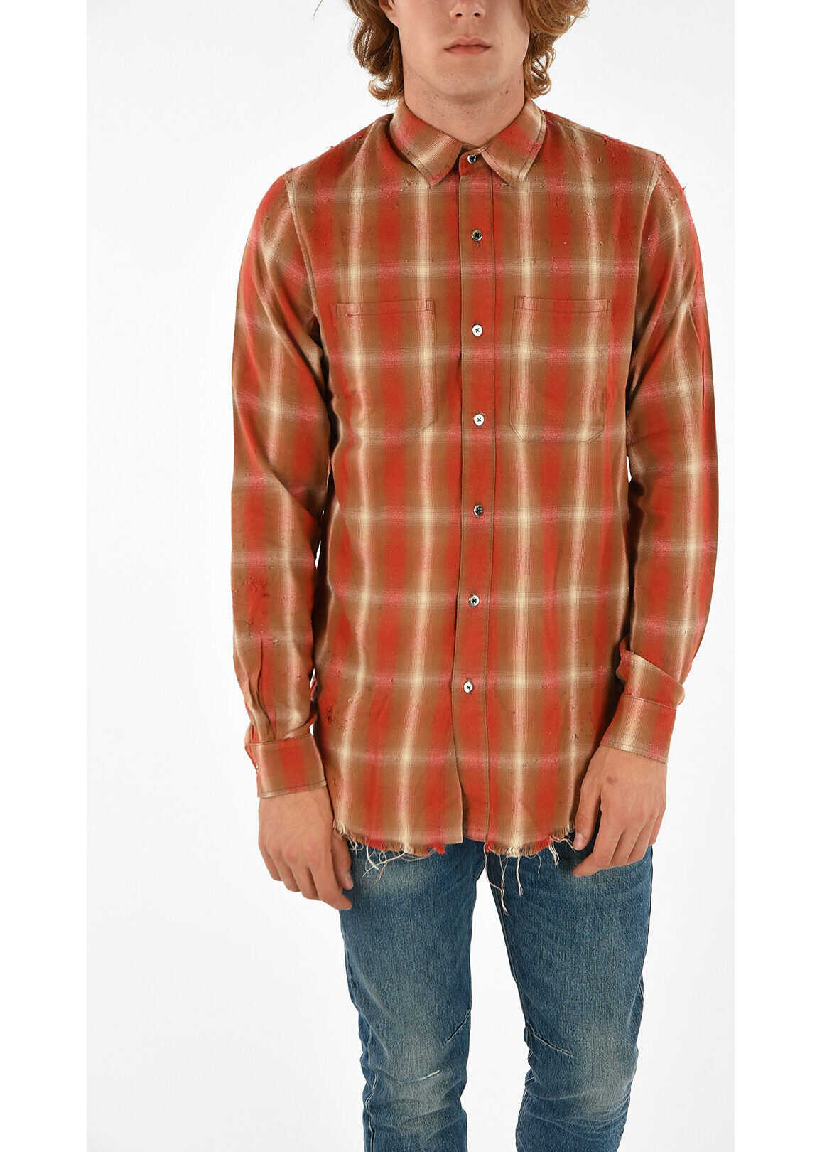 AMIRI tartan button fastening along front shirt MULTICOLOR