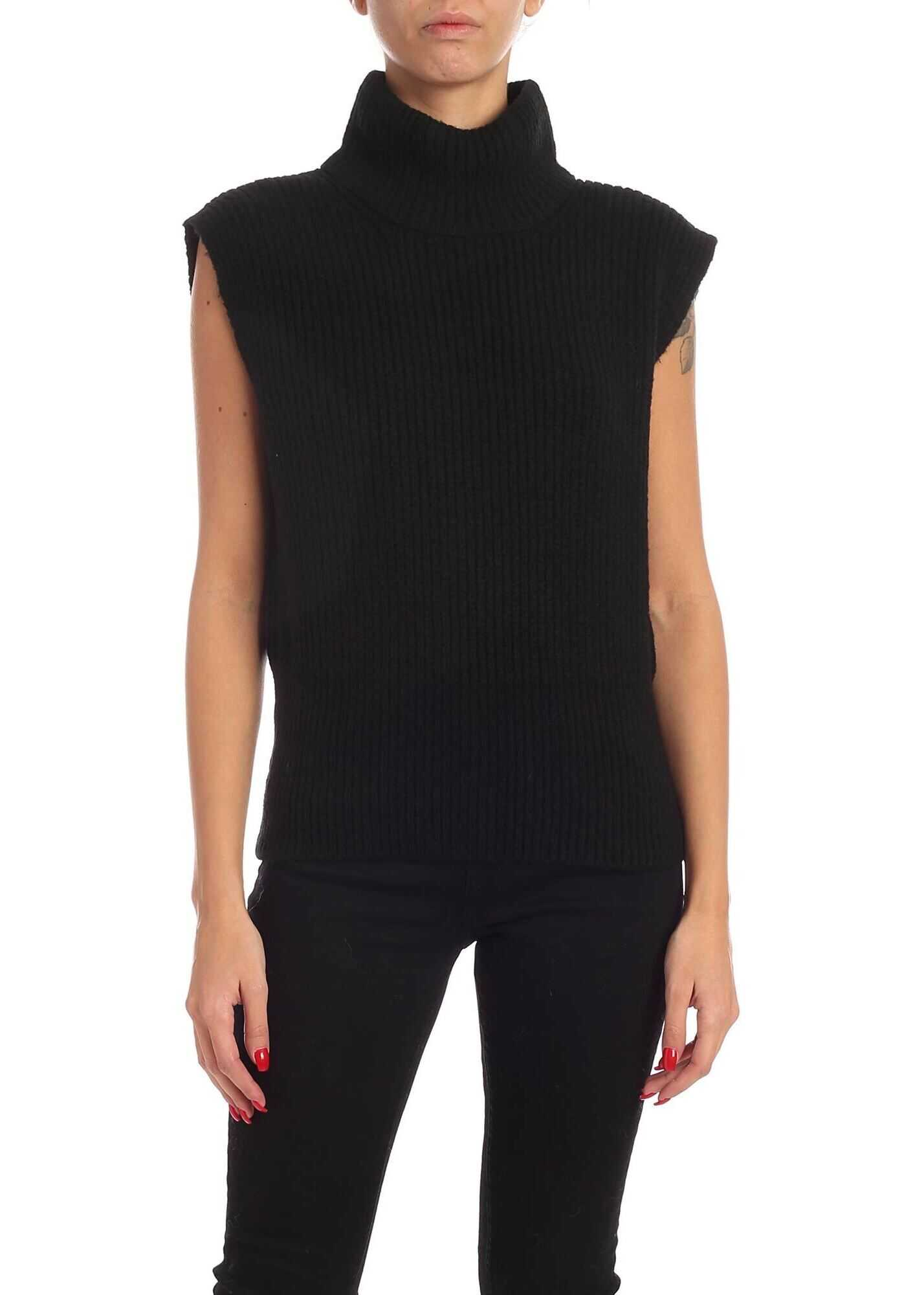Logo Detail Turtleneck Vest In Black thumbnail