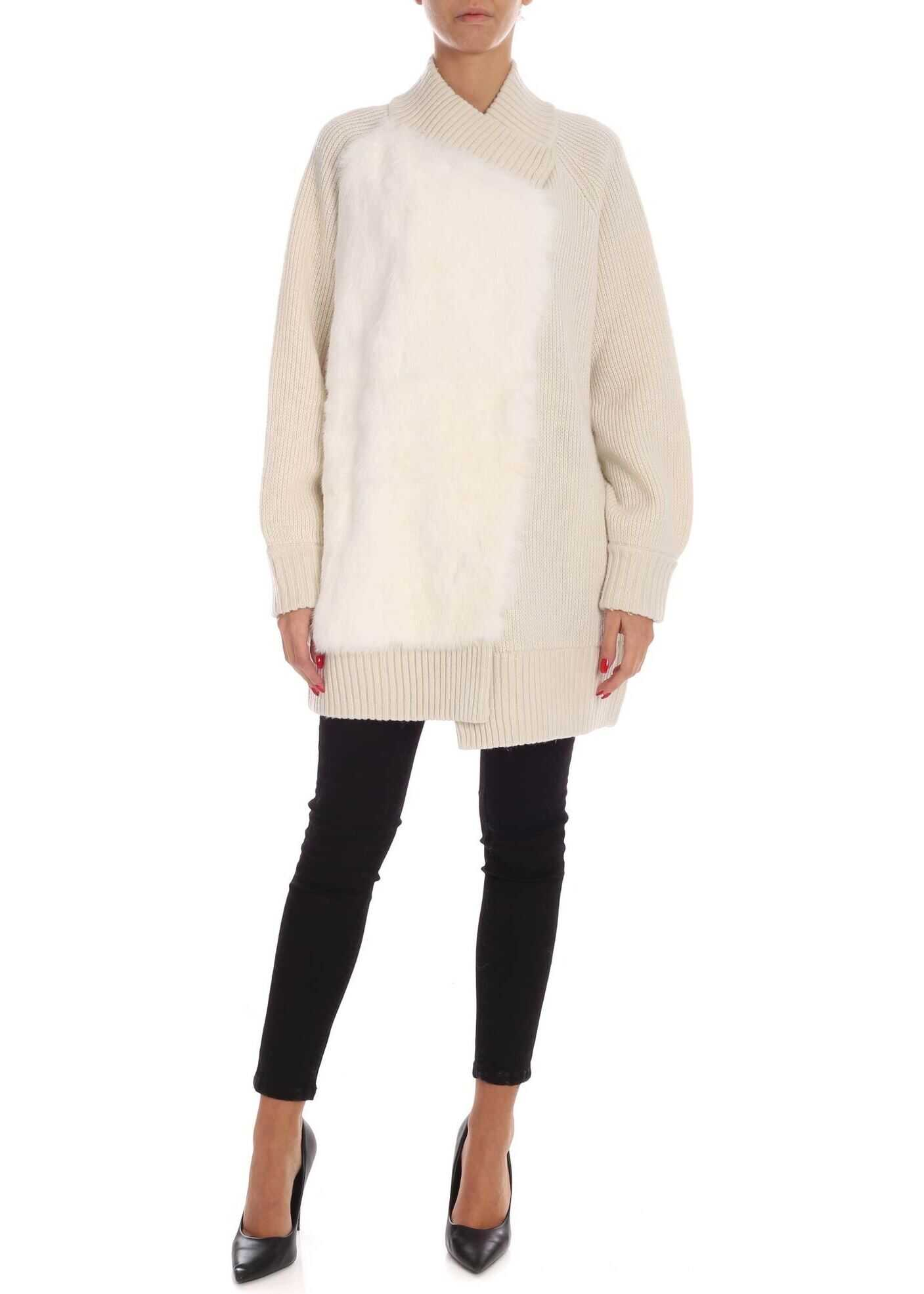 Fur Detail Cardigan In Cream Color thumbnail