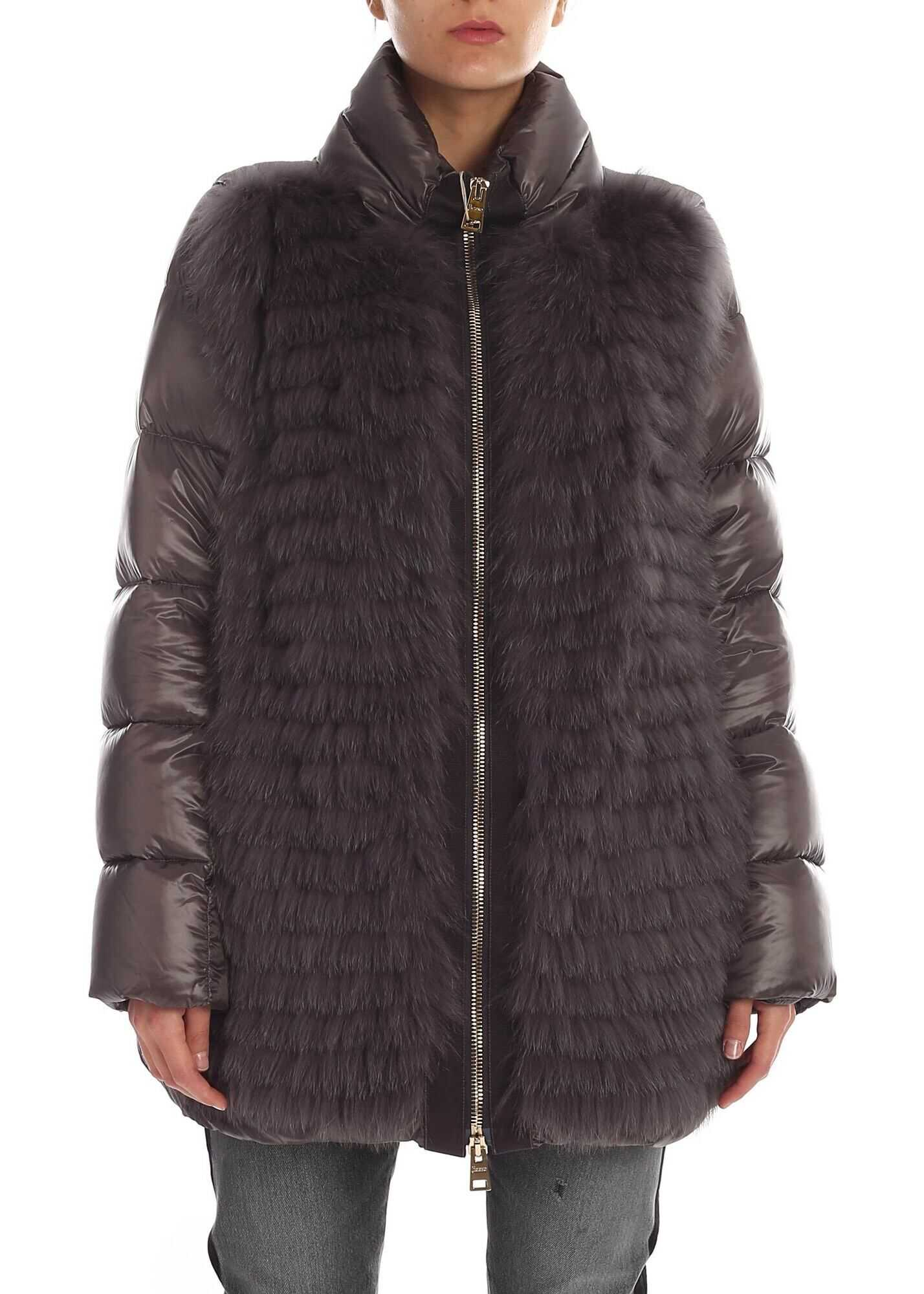 Herno Grey Down Jacket With Tone-On-Tone Fur Detail Grey
