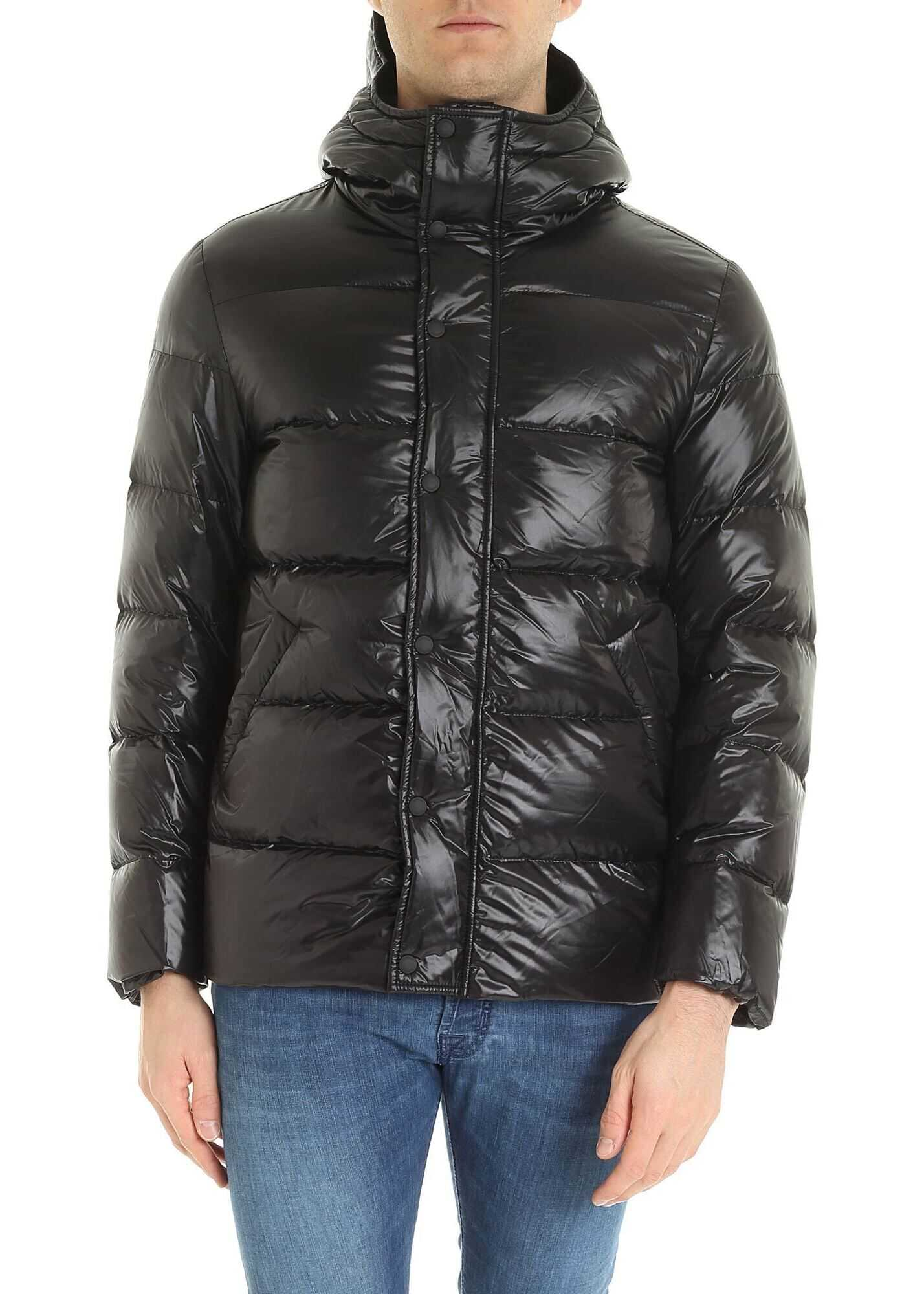 Hogan Hoodie Down Jacket In Black Black