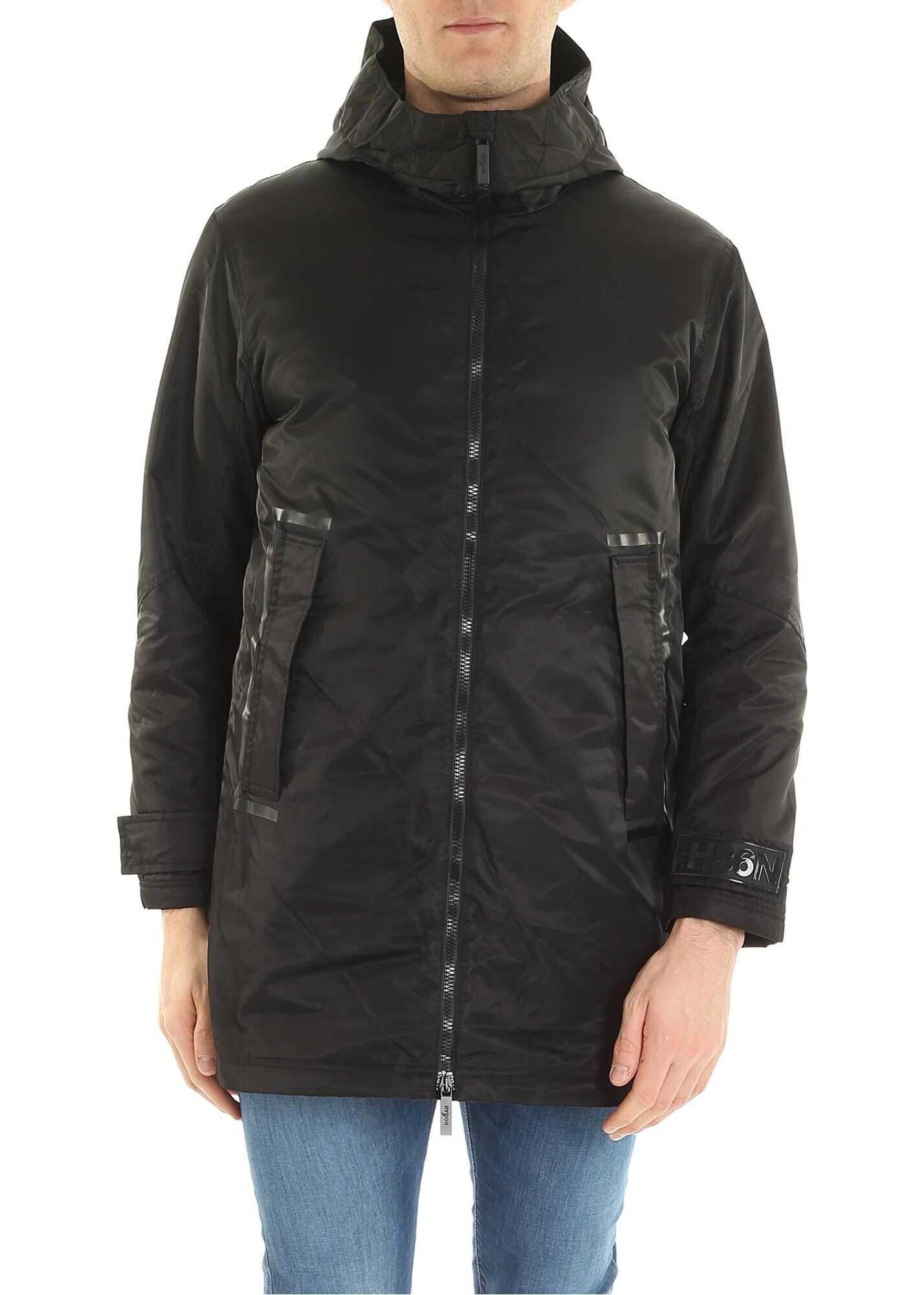 Hogan Black Coat With Down Vest Black