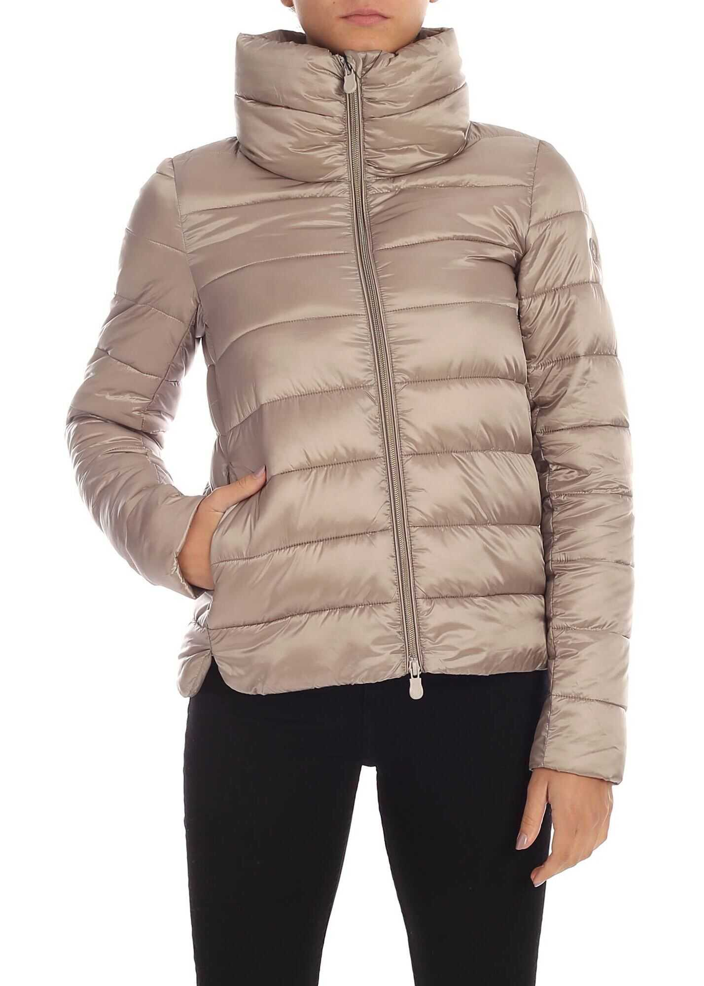 Save the Duck Logo Down Jacket In Dove Grey Color Beige