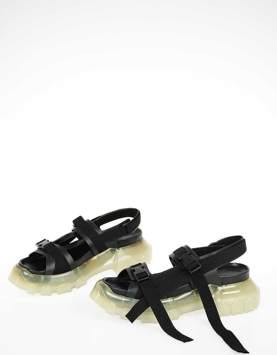 Rick Owens Leather TRACTOR Sandals BLACK