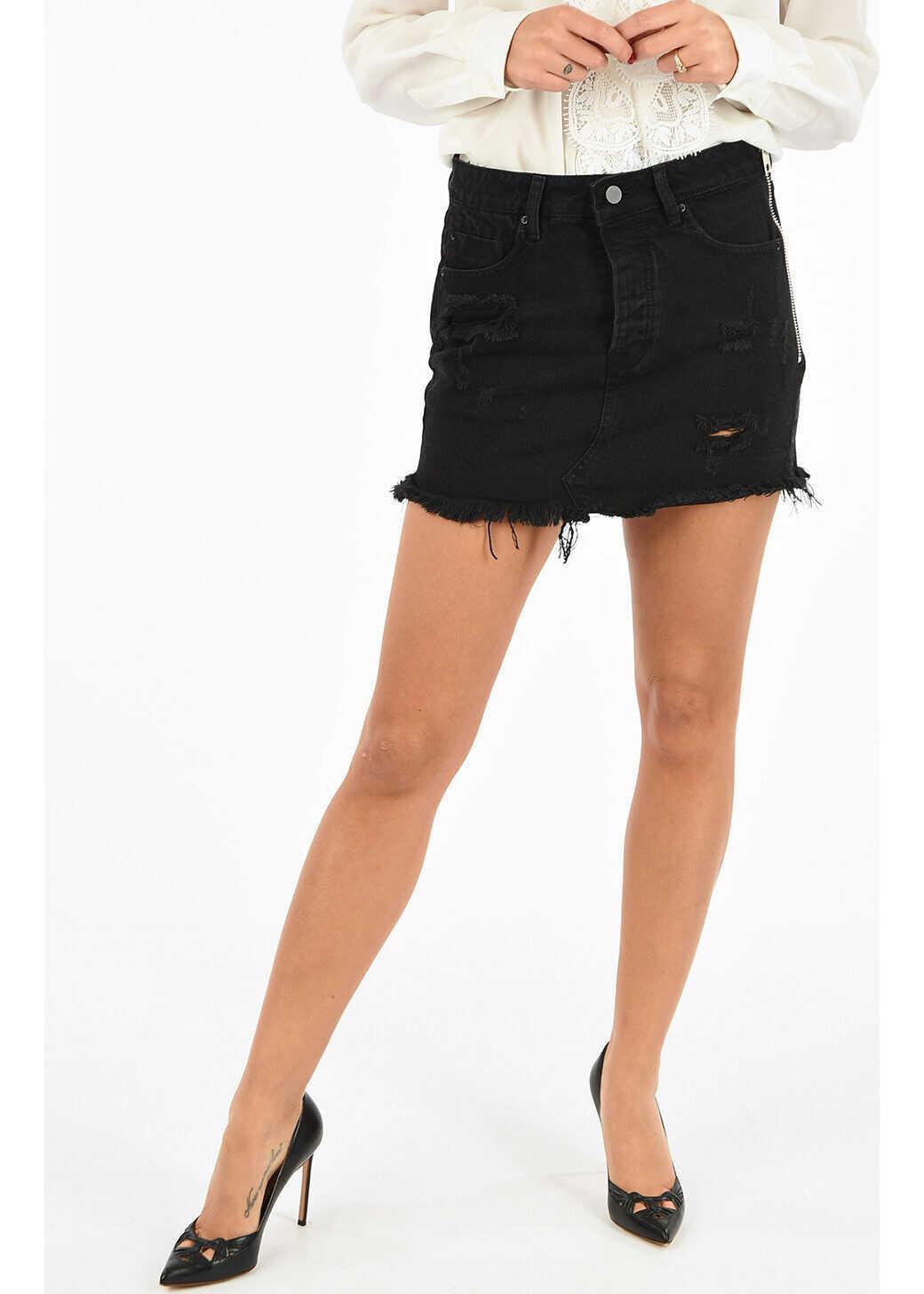 Alexander Wang X Denim Distressed Skirt BLACK