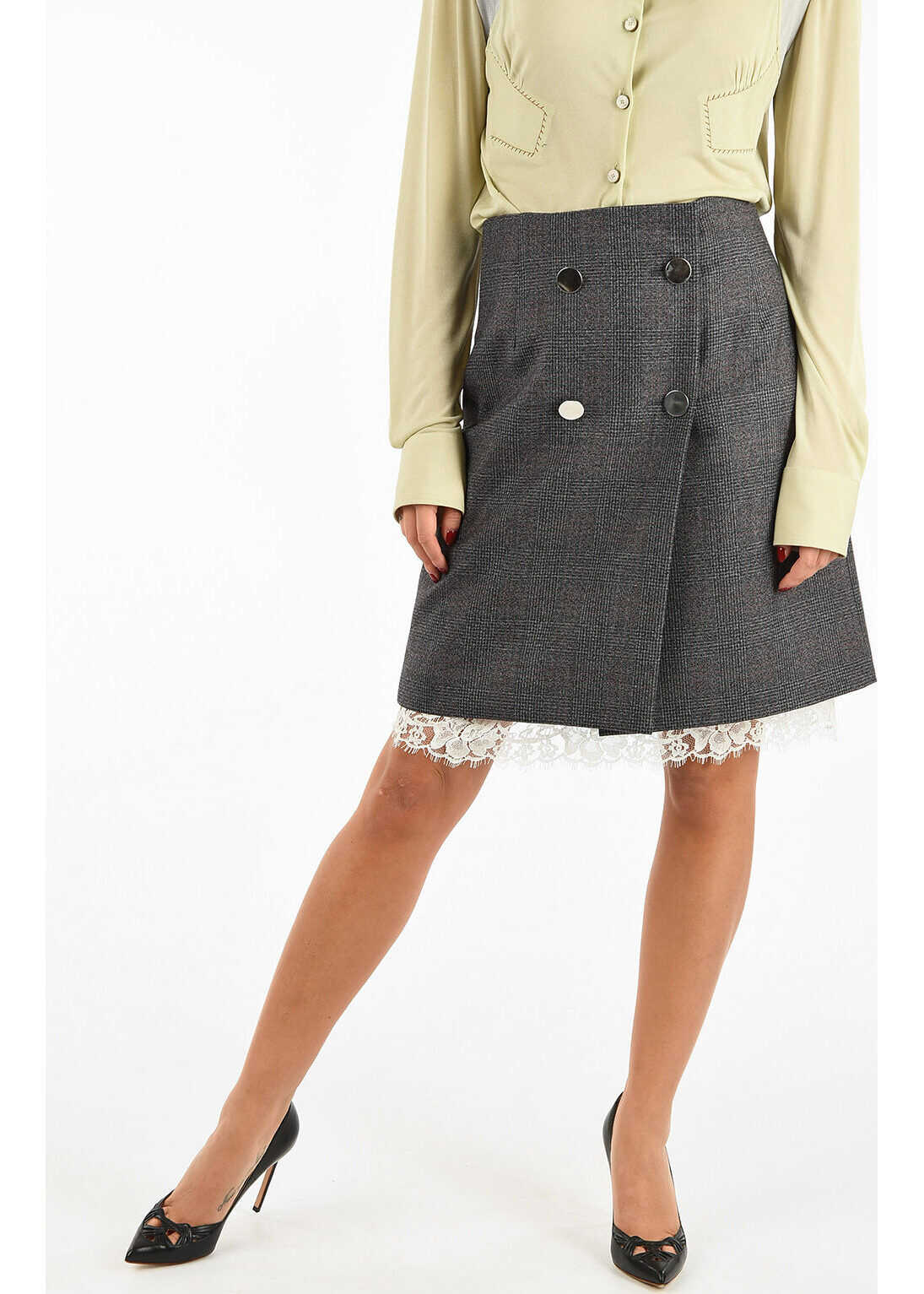 205W39NYC Wrap Mini Skirt with Lace thumbnail