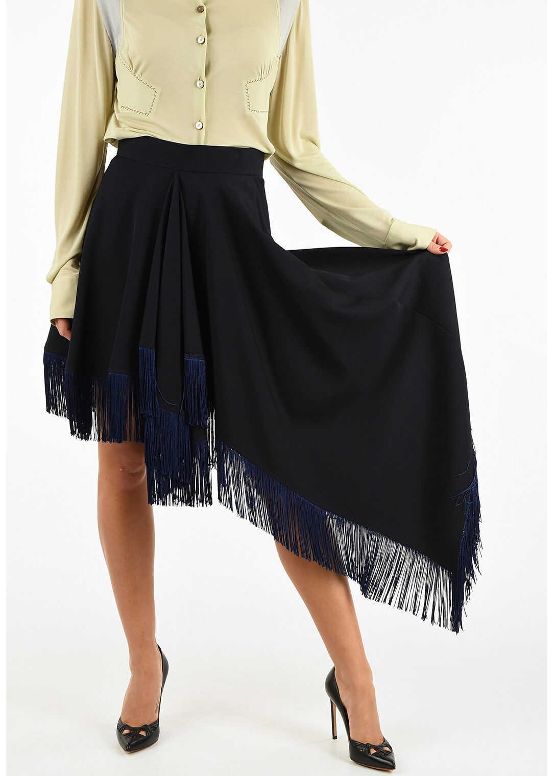 205W39NYC Asymmetric Fringed Skirt thumbnail