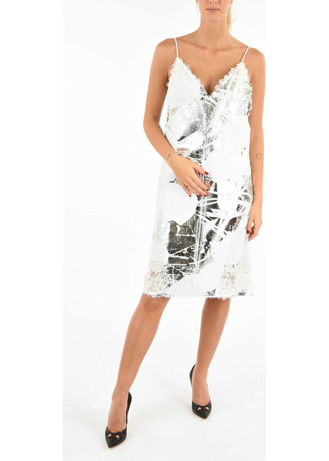 Calvin Klein 205W39NYC ANDY WARHOL Laced Printed Dress WHITE