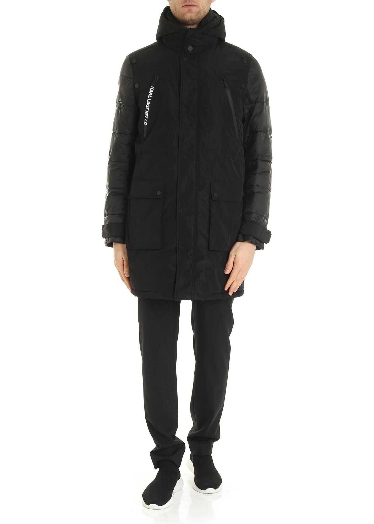 Karl Lagerfeld Hoodie Jacket In Black Black imagine