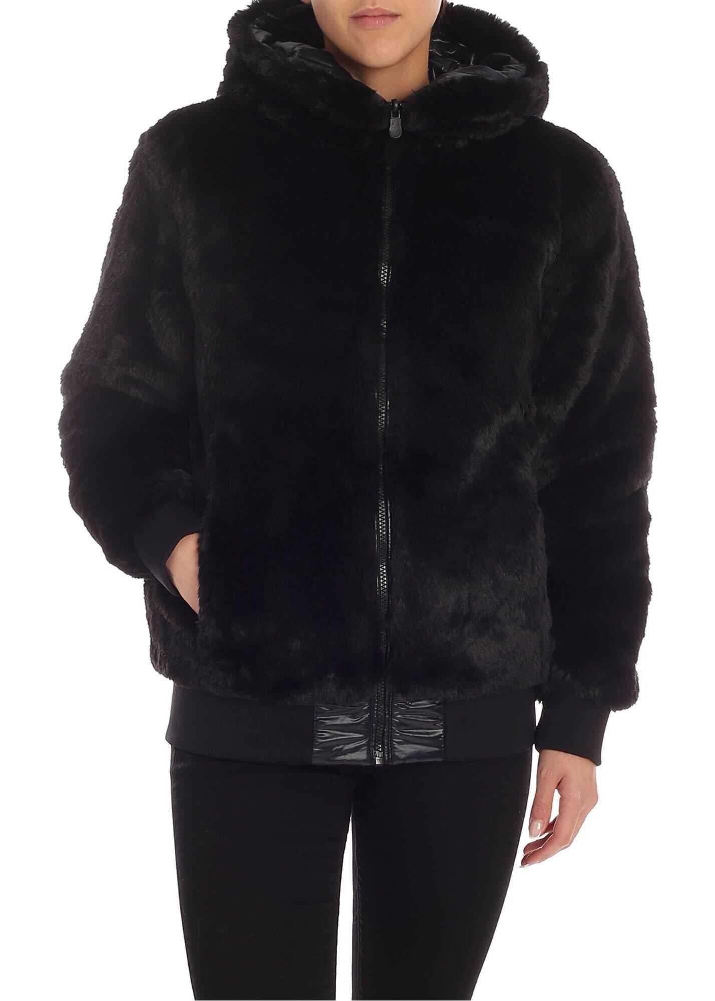 Save the Duck Black Eco-Fur Down Jacket Black