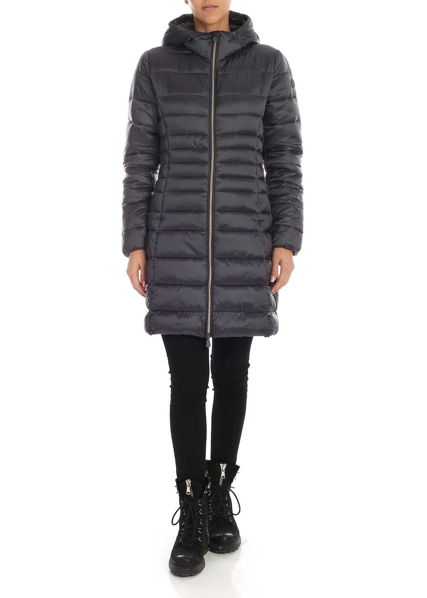 Save the Duck Down Jacket In Anthracite Grey With Rubberised Logo Grey