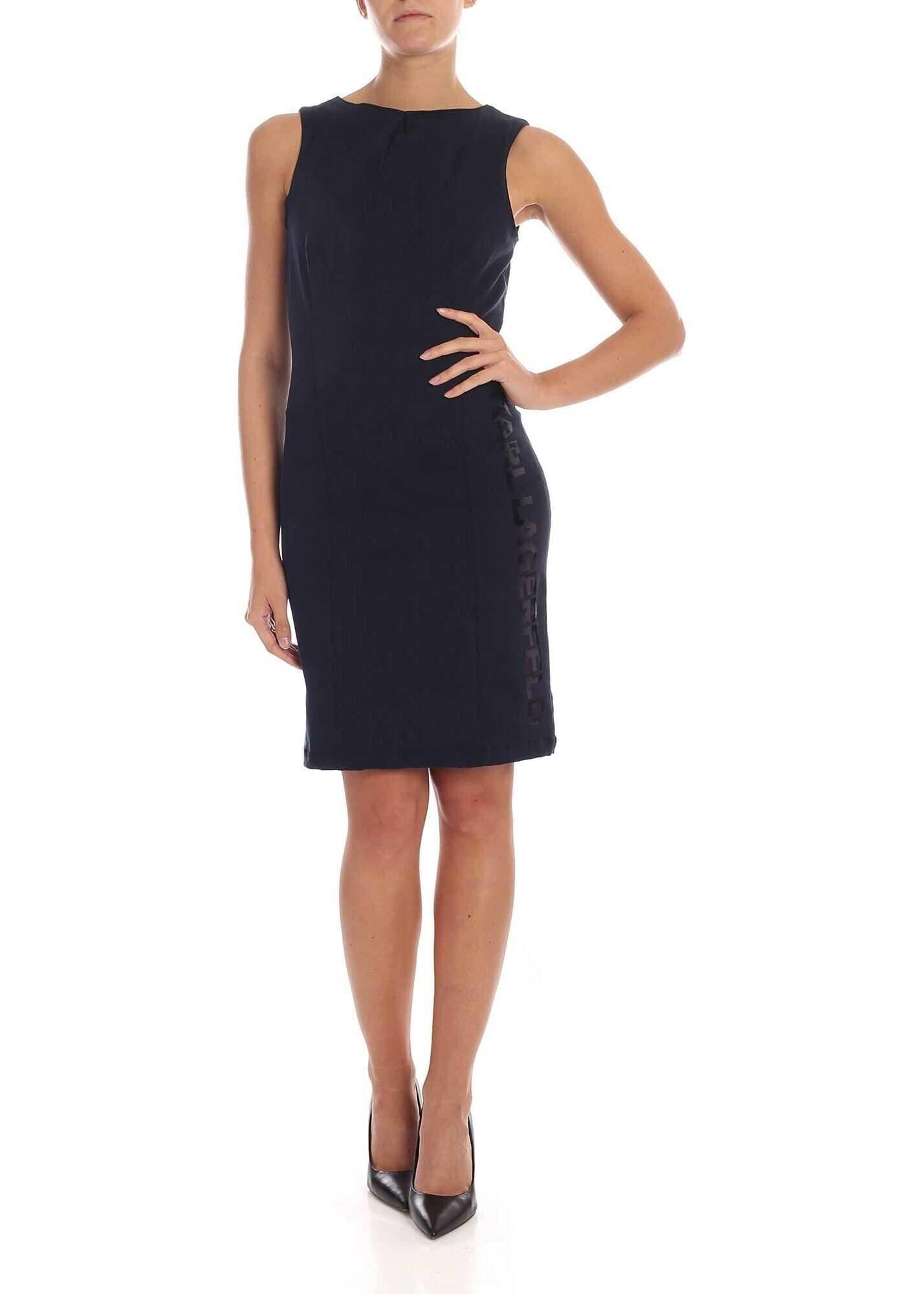 Knee-Length Dress In Dark Blue thumbnail