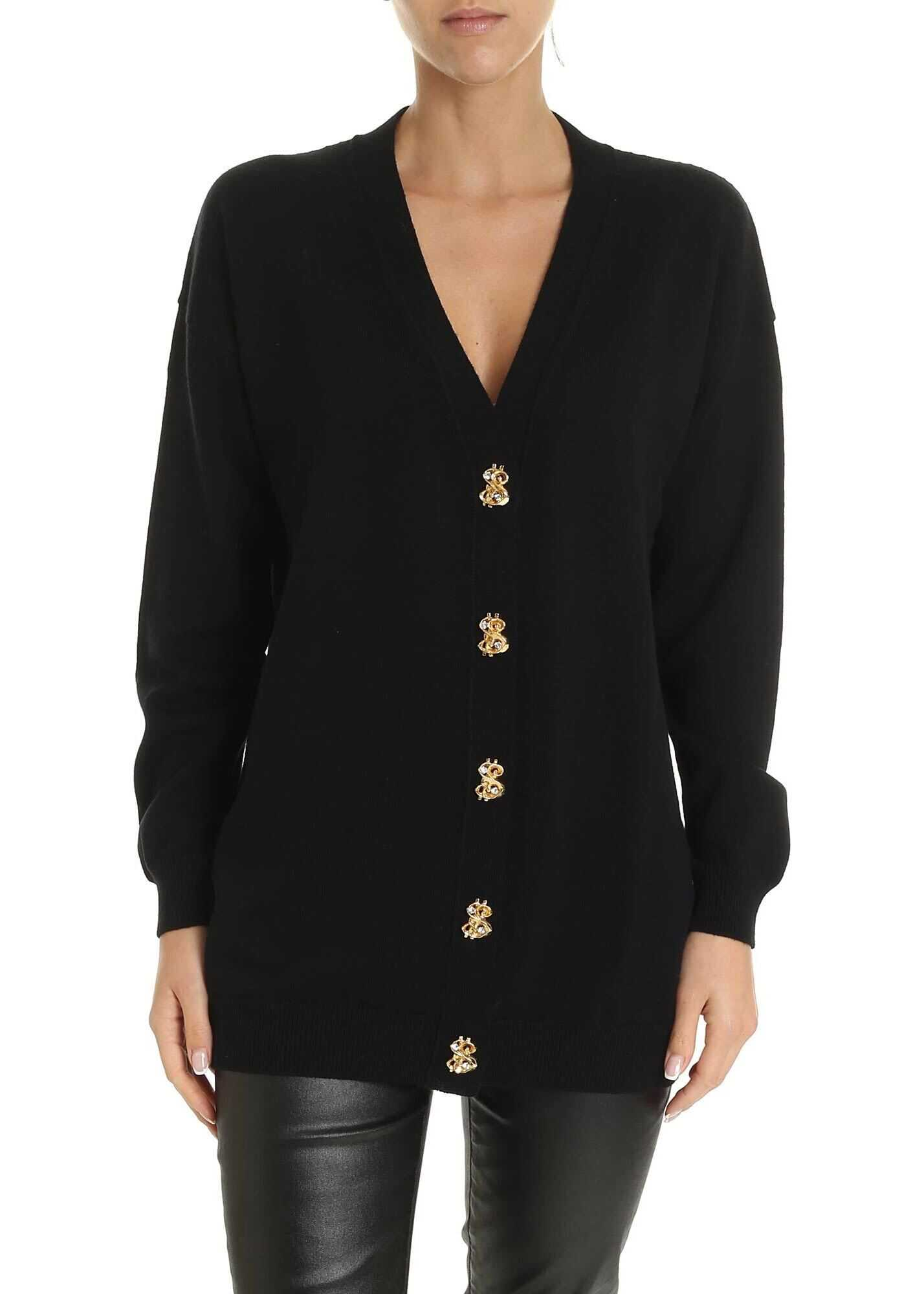 Dollar Buttons Cardigan In Black thumbnail