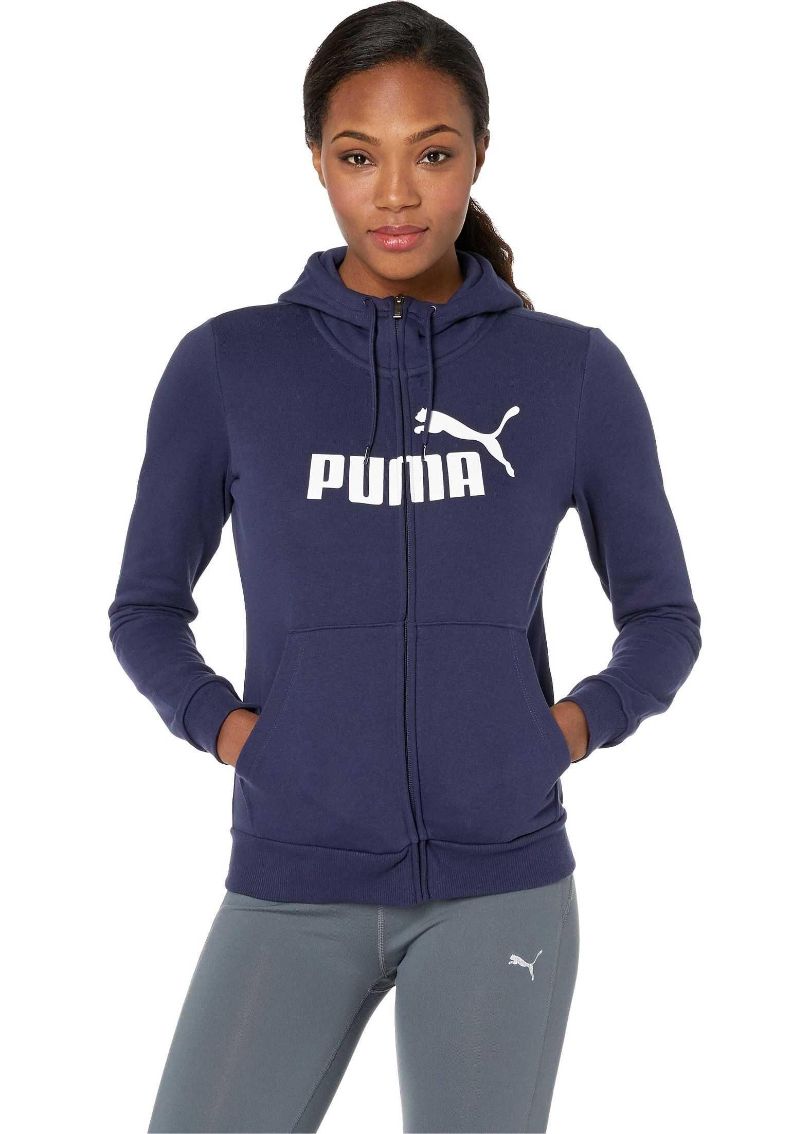 PUMA Essential Logo Fleece Hooded Jacket Peacoat