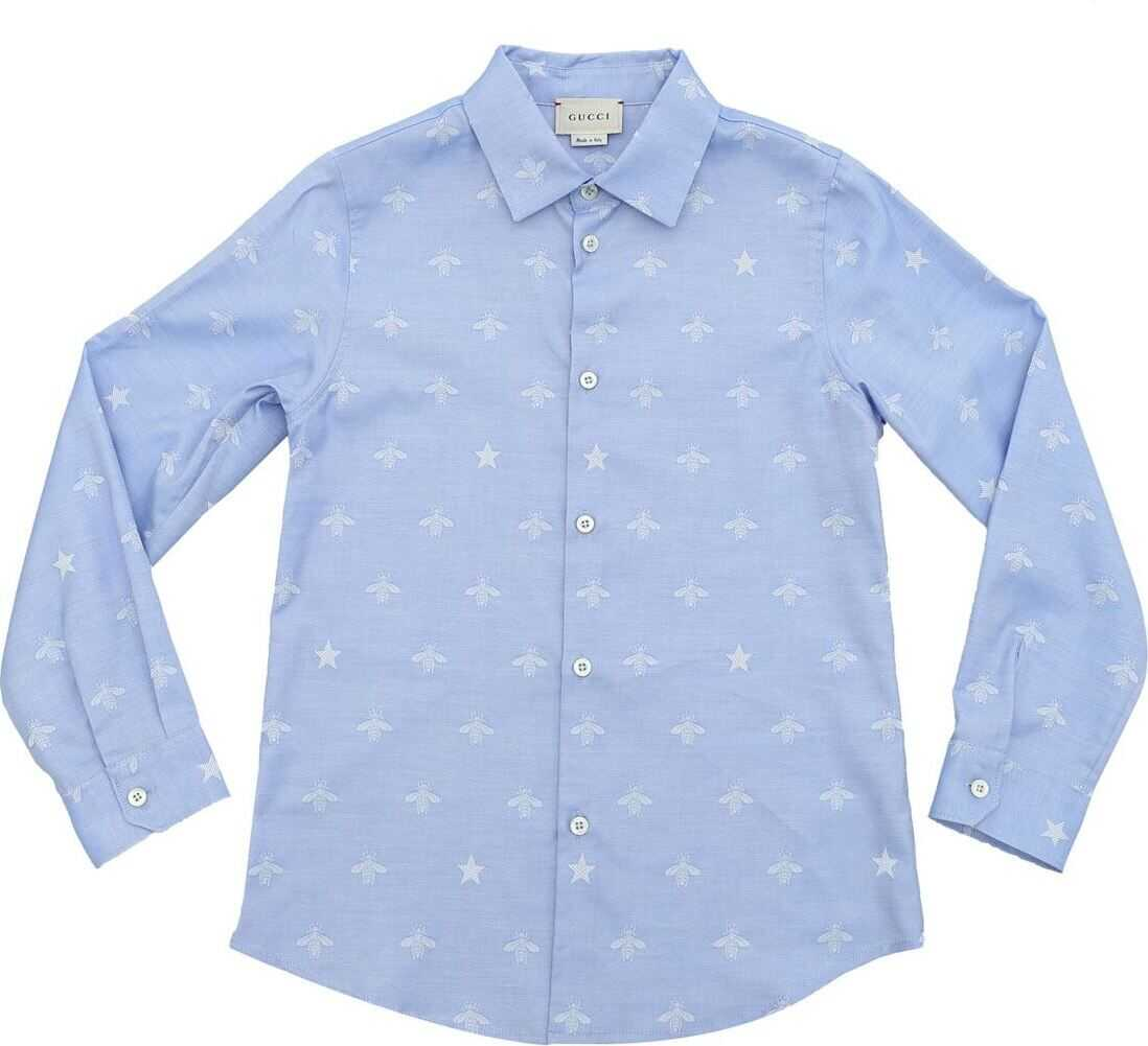 Bees Embroidery Shirt In Light Blue thumbnail