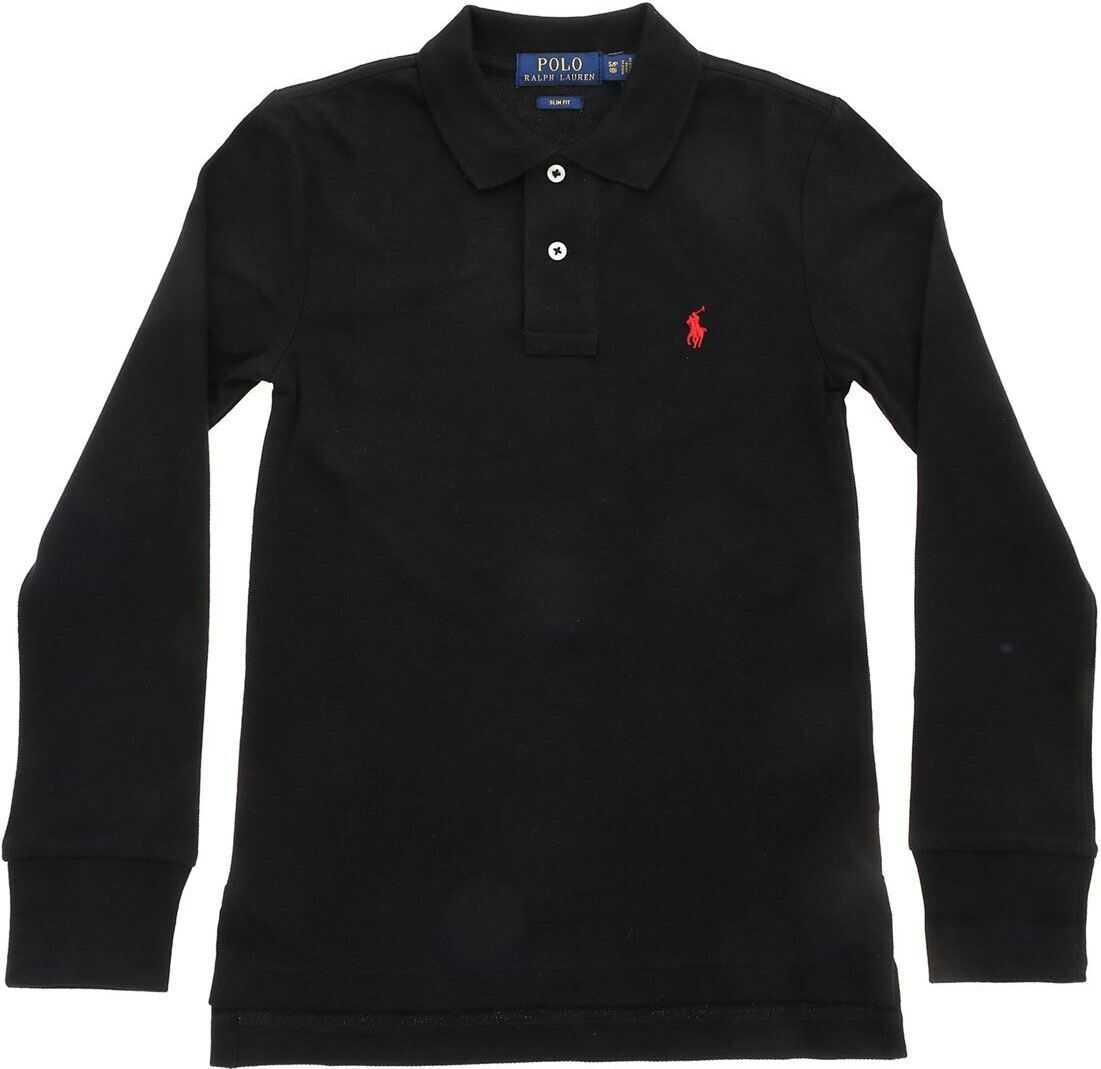 Red Logo Long Sleeve Polo Shirt In Black thumbnail