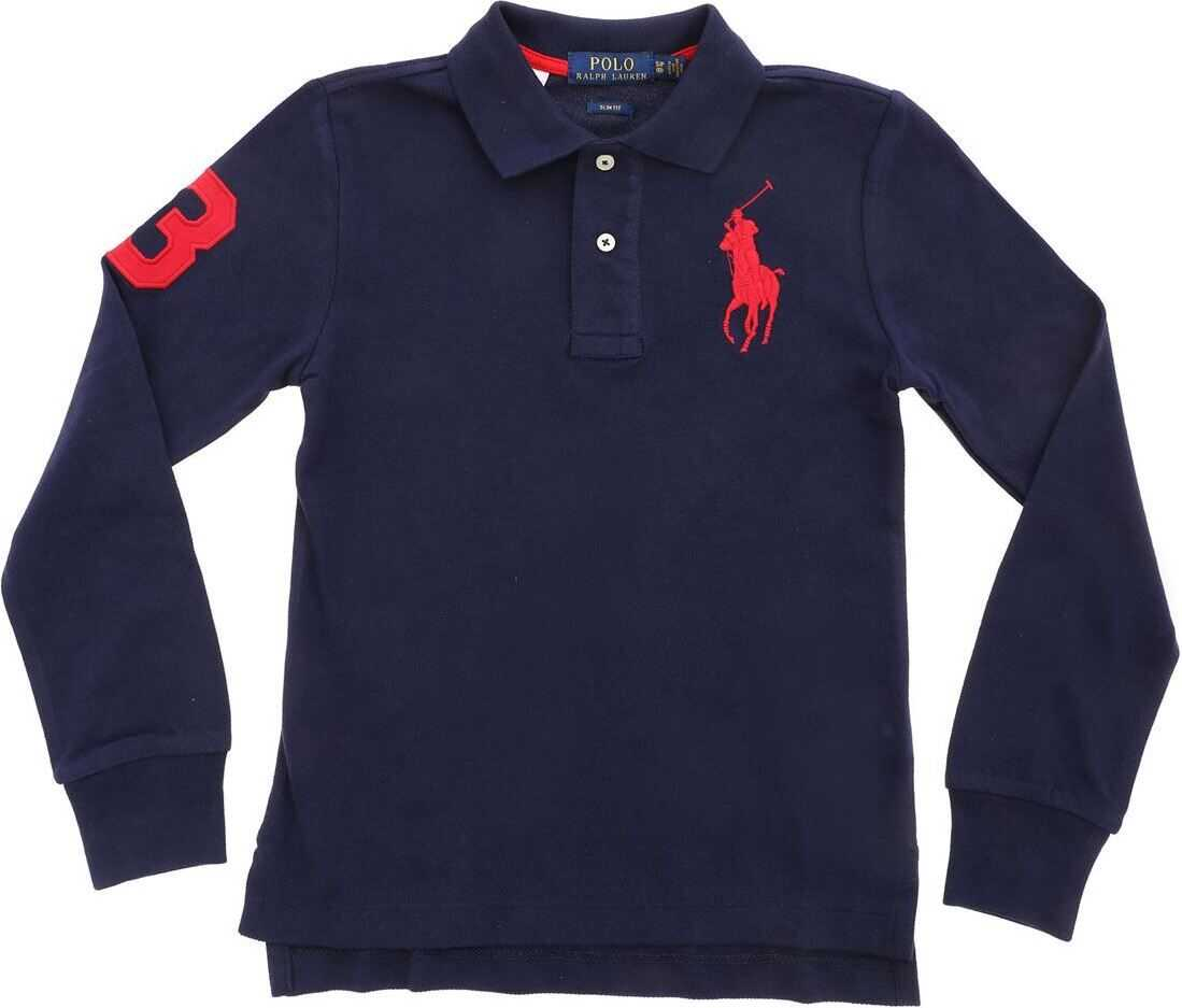 Red Patch Long Sleeve Polo Shirt In Blue thumbnail