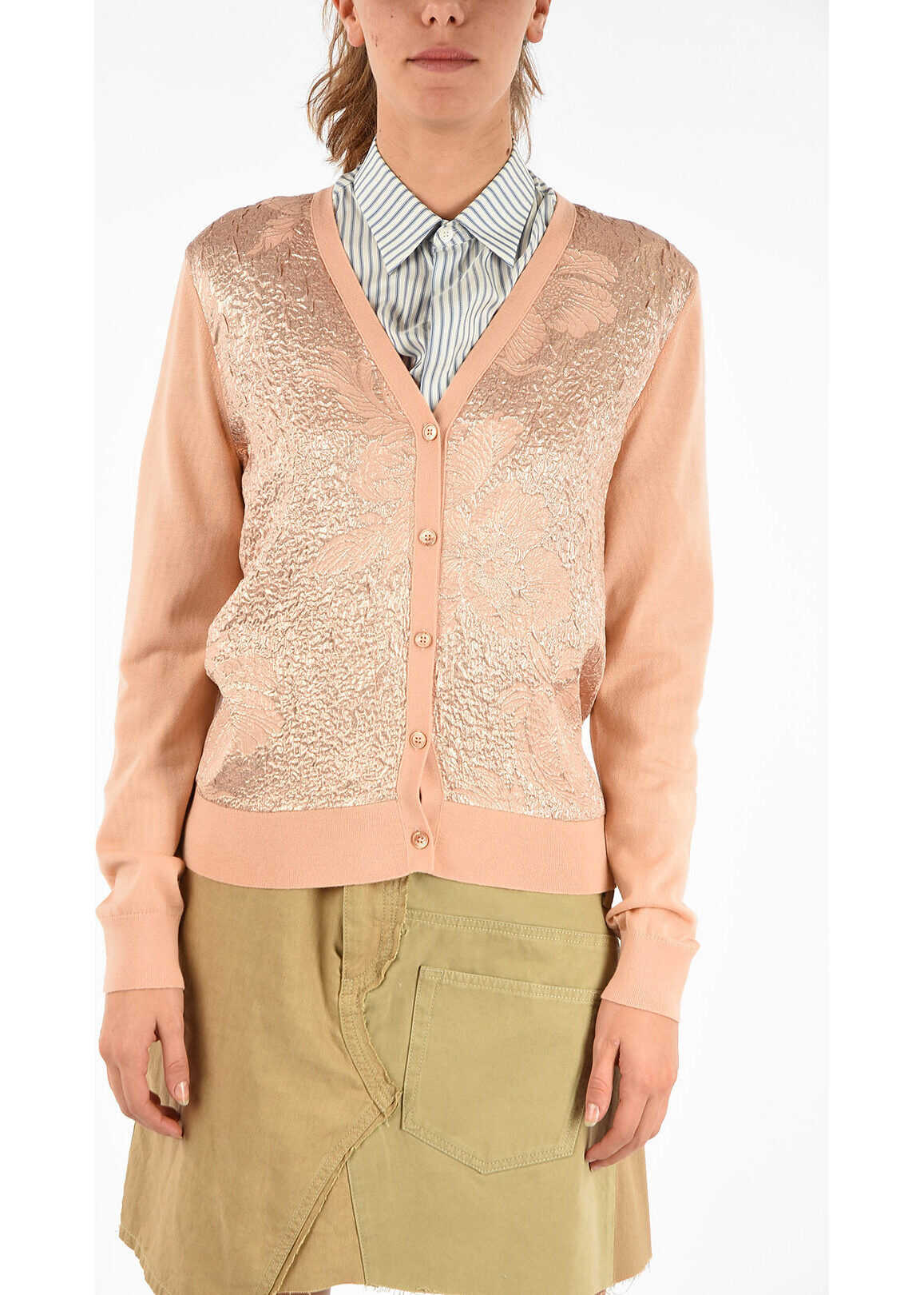 Tory Burch Floral Cloque-Front Cardigan PINK