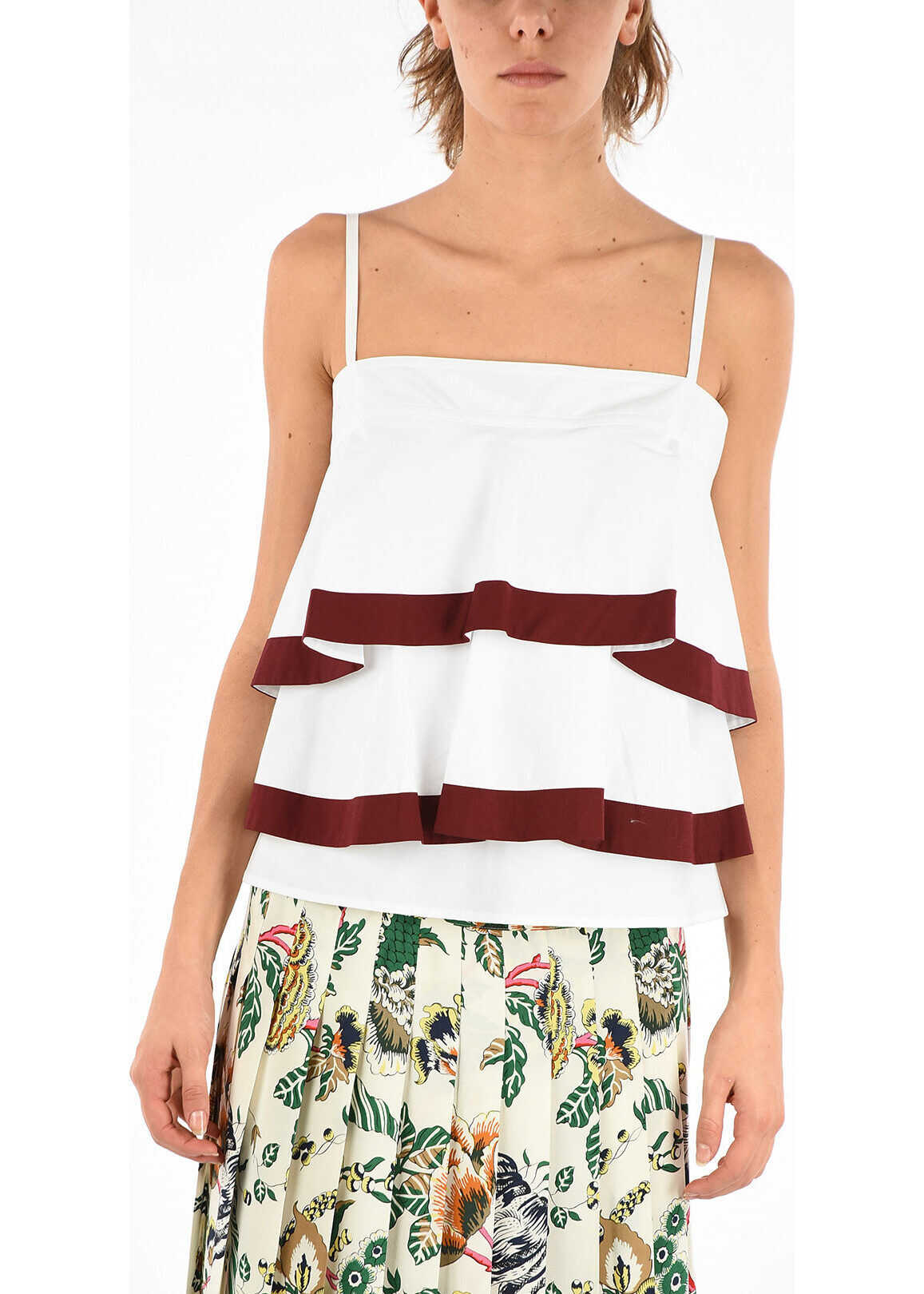 Tory Burch Stretch Cotton Frilled Top WHITE