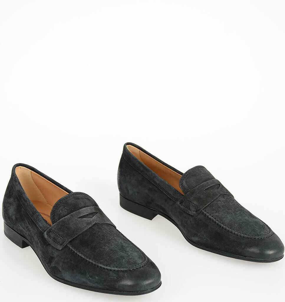 TOD'S Suede Leather Loafers GRAY