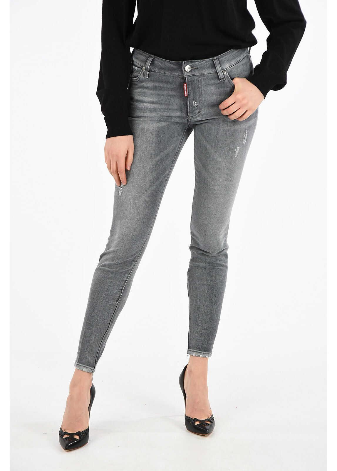 DSQUARED2 11cm Stretch Denim TWIGGY Jeans GRAY