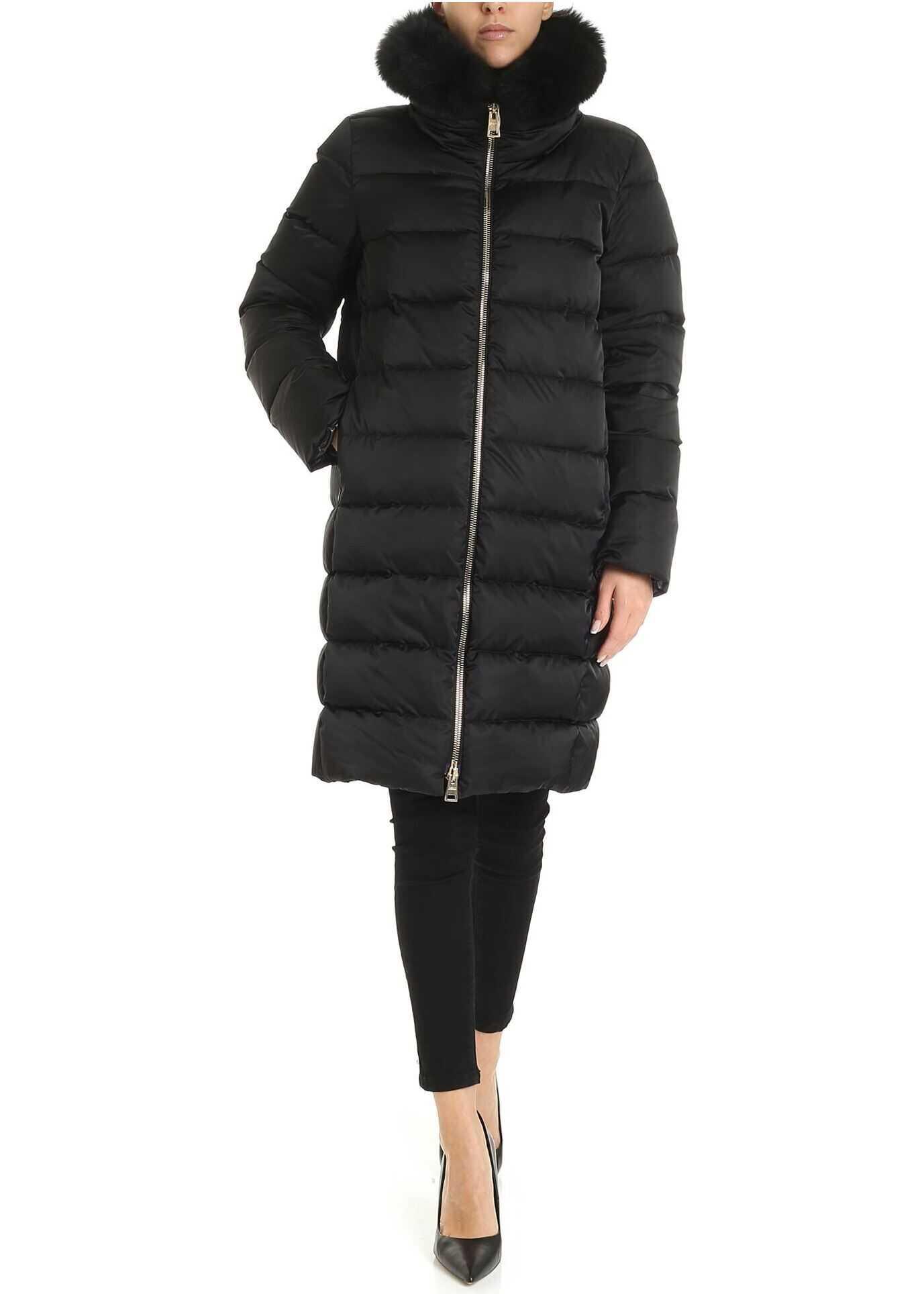 Herno Fur Insert Down Jacket In Black Black